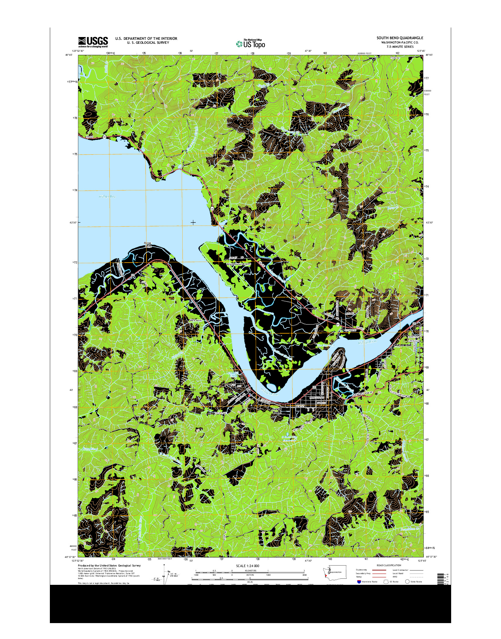 USGS US TOPO 7.5-MINUTE MAP FOR SOUTH BEND, WA 2014