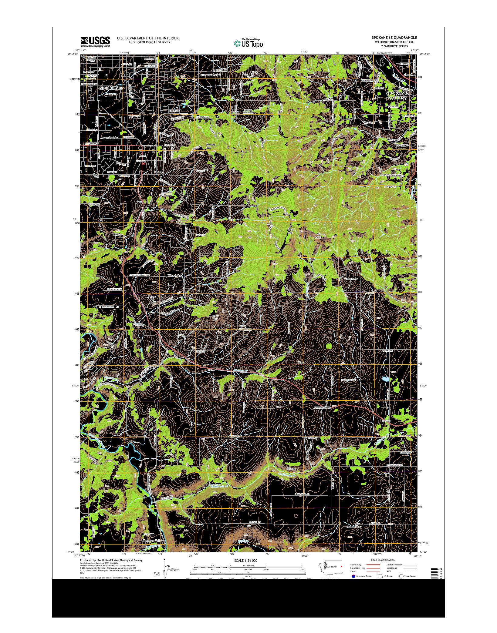 USGS US TOPO 7.5-MINUTE MAP FOR SPOKANE SE, WA 2014