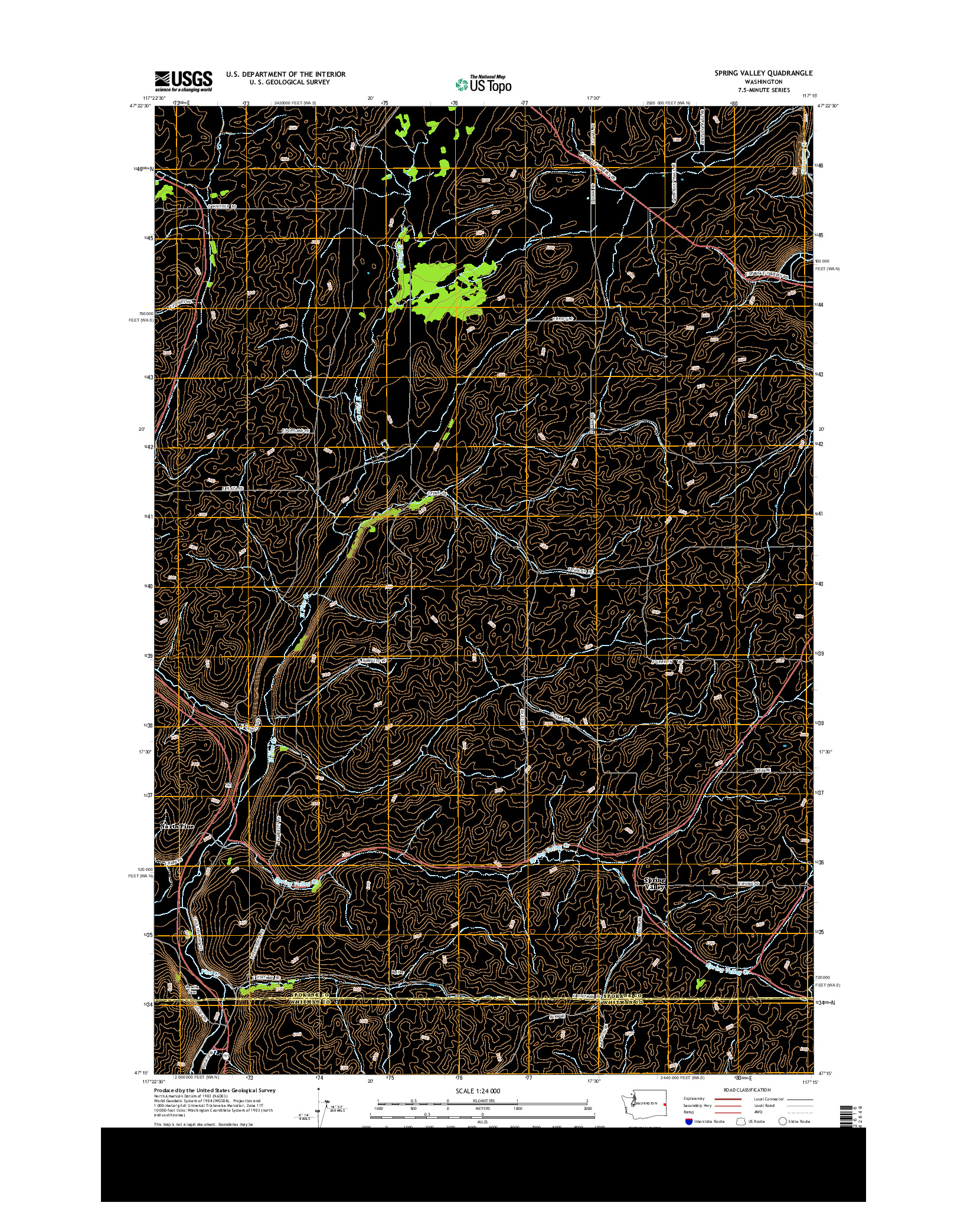 USGS US TOPO 7.5-MINUTE MAP FOR SPRING VALLEY, WA 2014