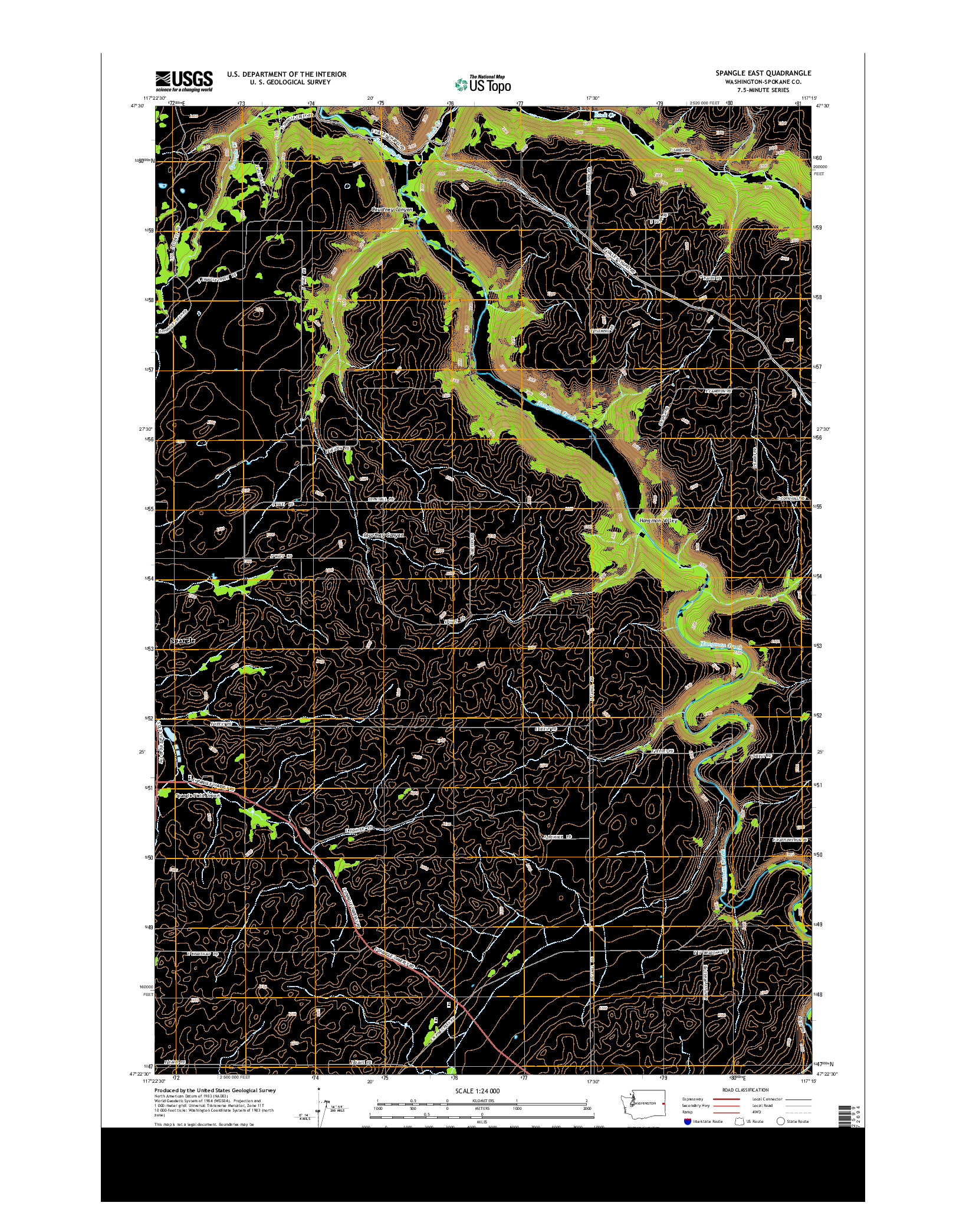 USGS US TOPO 7.5-MINUTE MAP FOR SPANGLE EAST, WA 2014