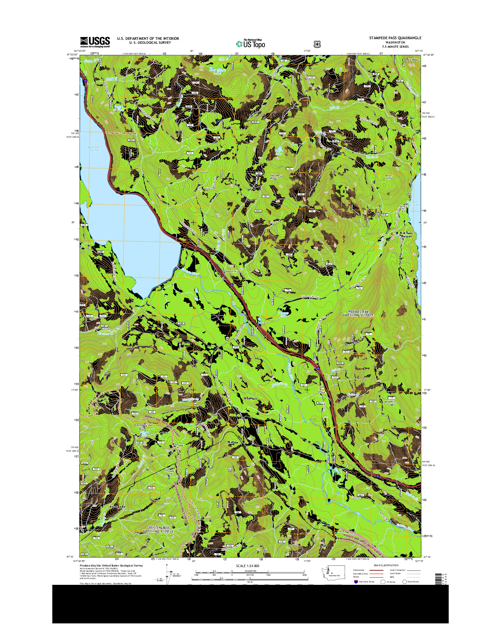 USGS US TOPO 7.5-MINUTE MAP FOR STAMPEDE PASS, WA 2014