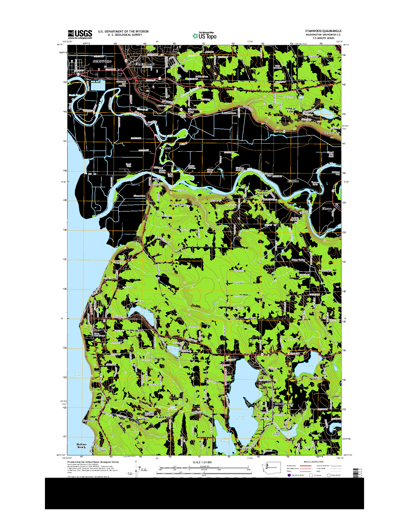 USGS US TOPO 7.5-MINUTE MAP FOR STANWOOD, WA 2014