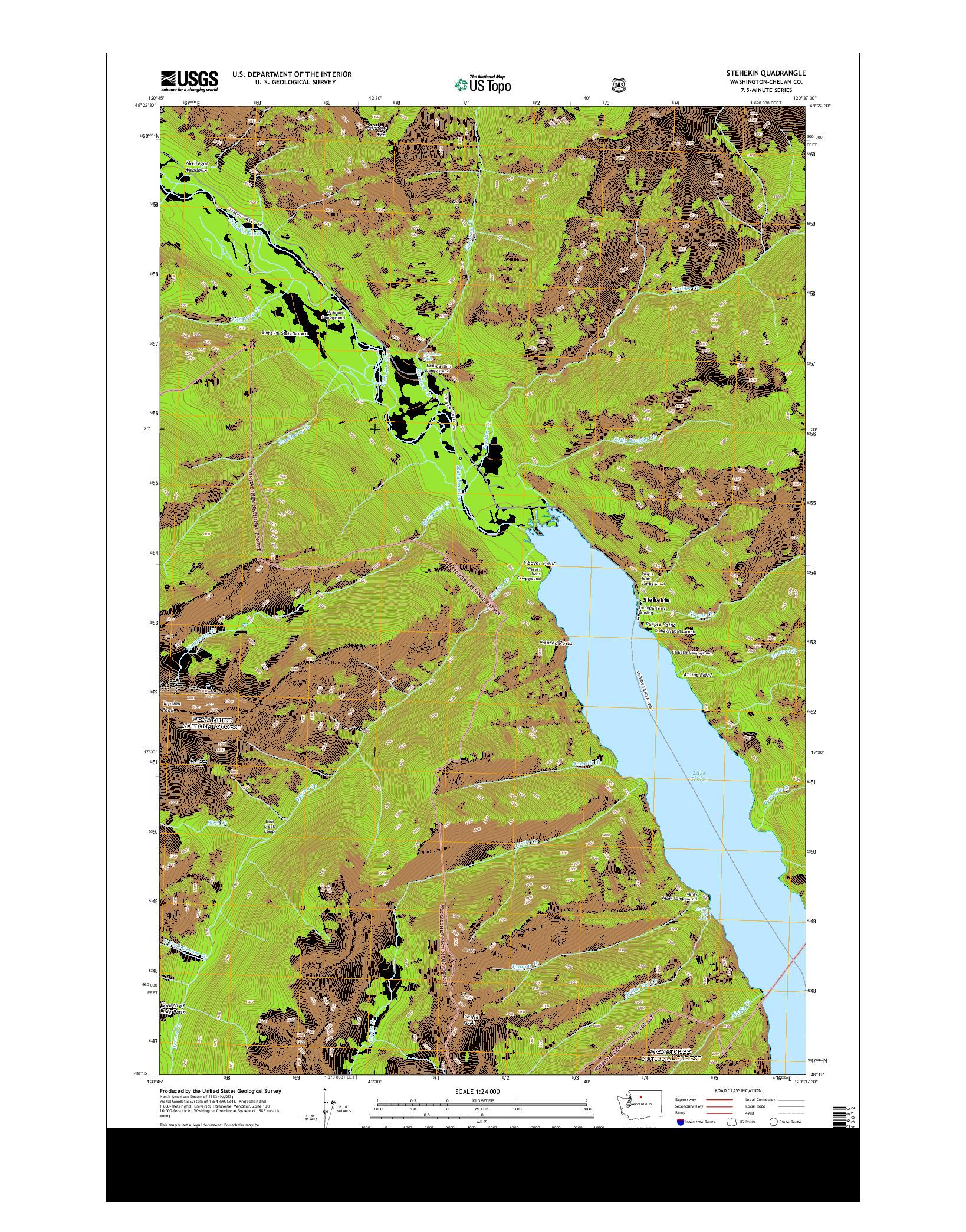 USGS US TOPO 7.5-MINUTE MAP FOR STEHEKIN, WA 2014