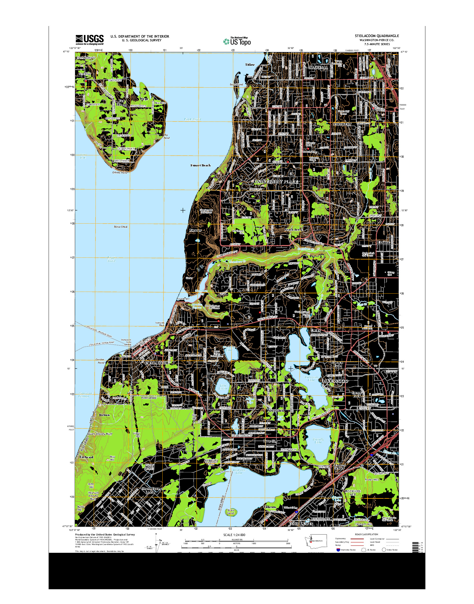 USGS US TOPO 7.5-MINUTE MAP FOR STEILACOOM, WA 2014