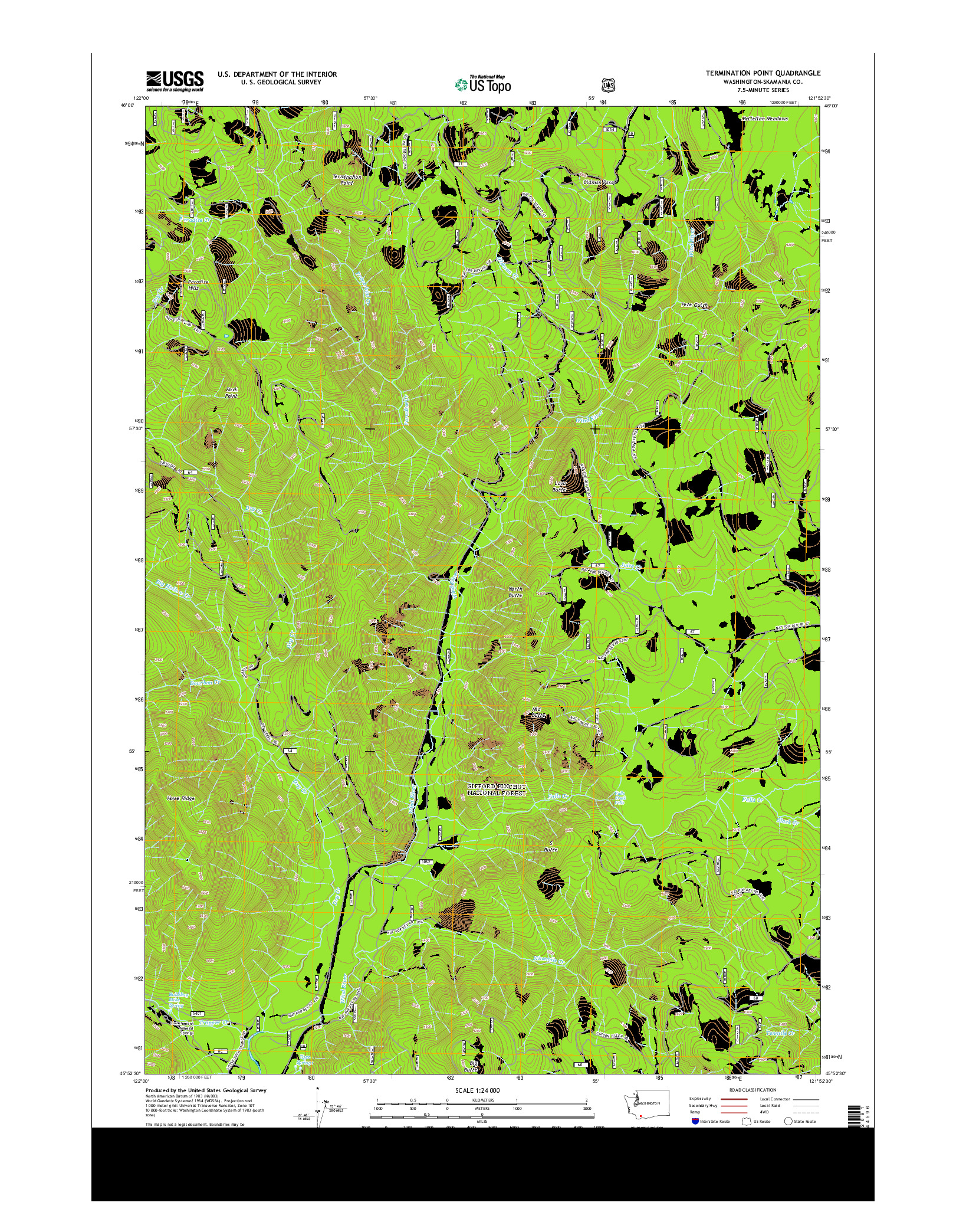 USGS US TOPO 7.5-MINUTE MAP FOR TERMINATION POINT, WA 2014
