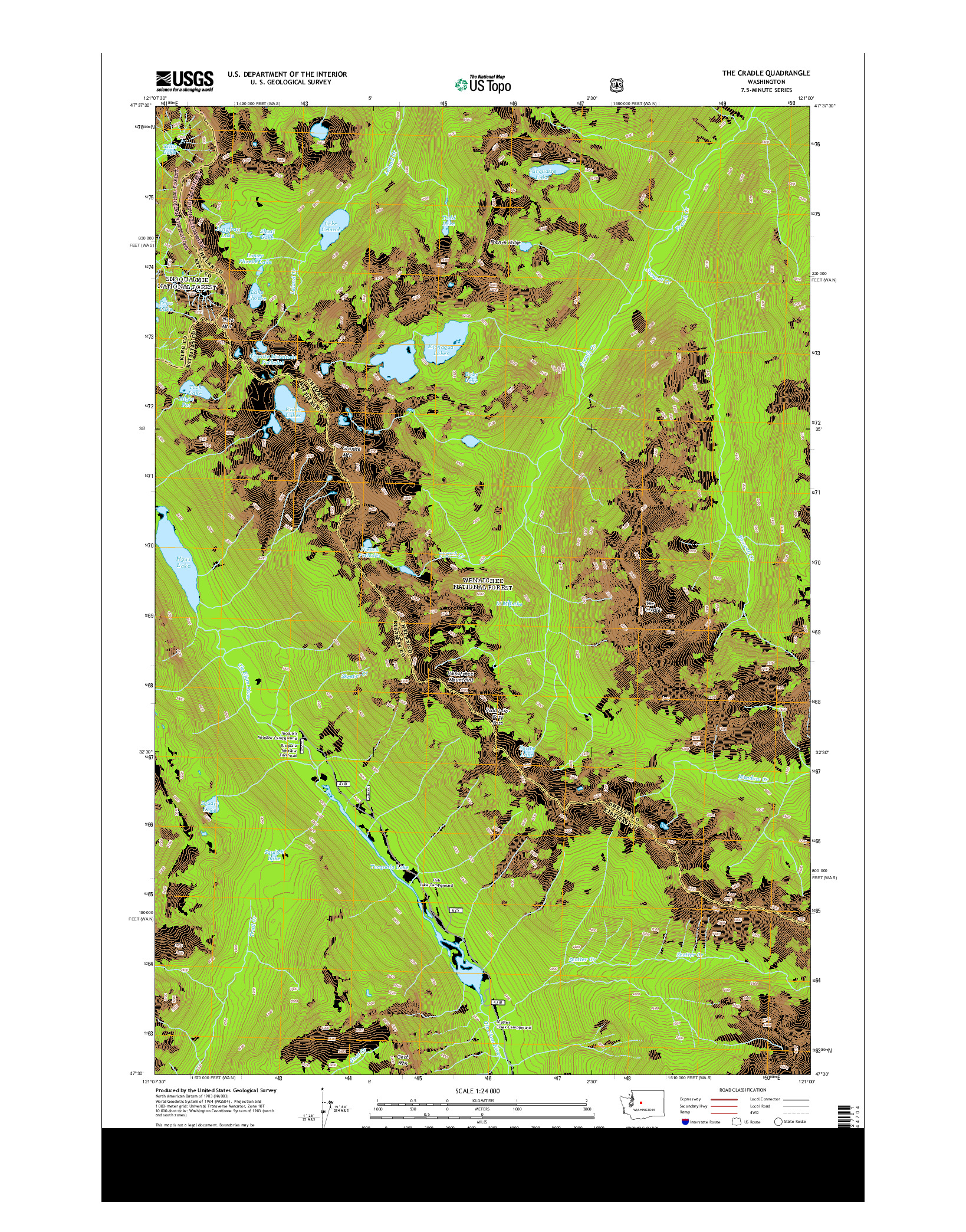 USGS US TOPO 7.5-MINUTE MAP FOR THE CRADLE, WA 2014