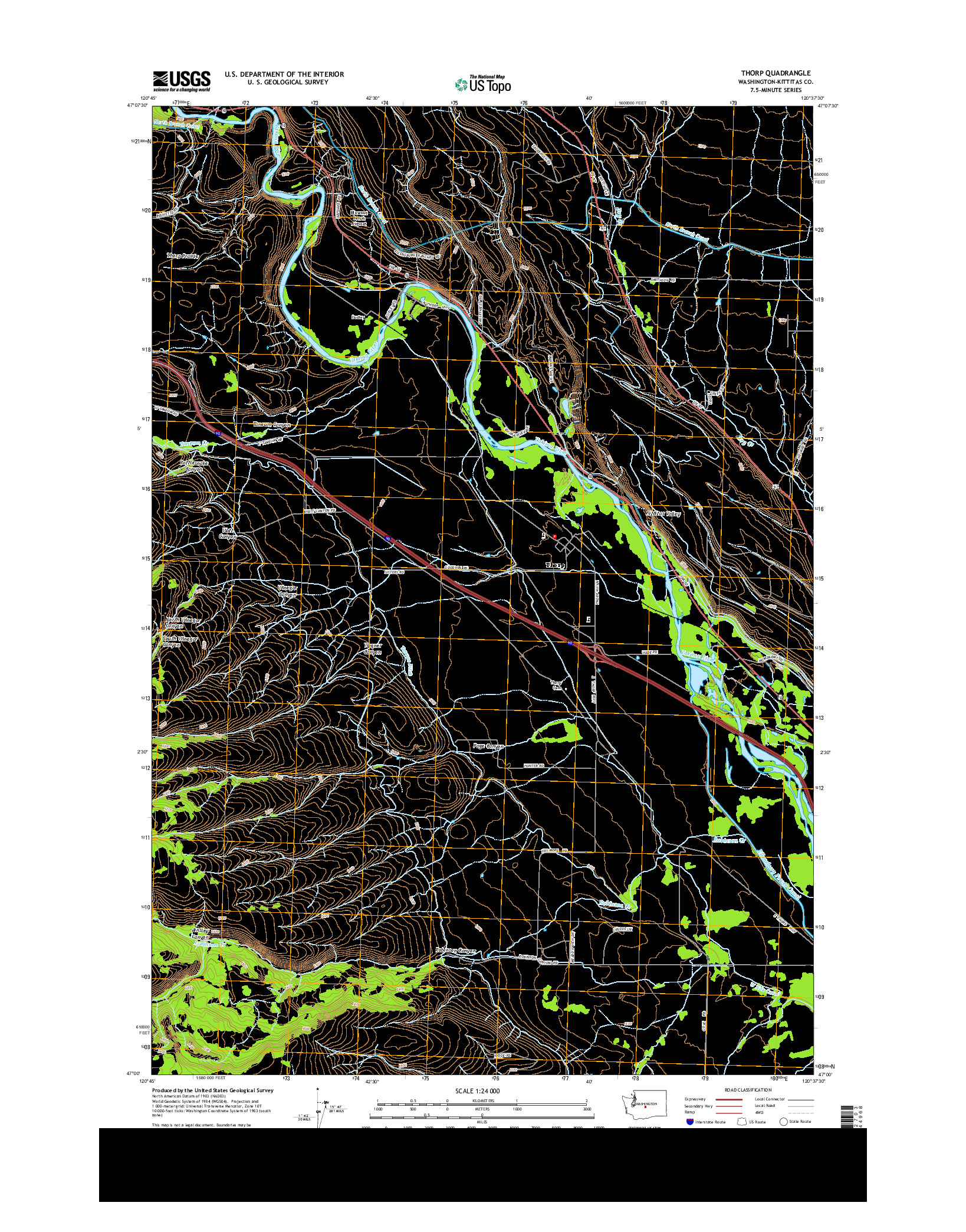 USGS US TOPO 7.5-MINUTE MAP FOR THORP, WA 2014