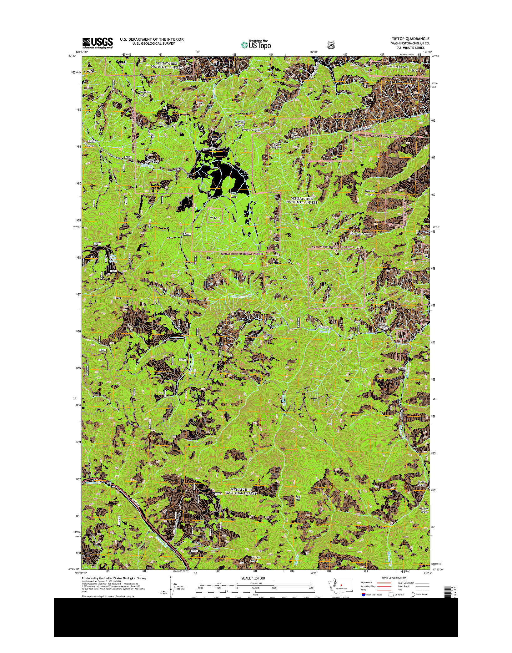 USGS US TOPO 7.5-MINUTE MAP FOR TIPTOP, WA 2014