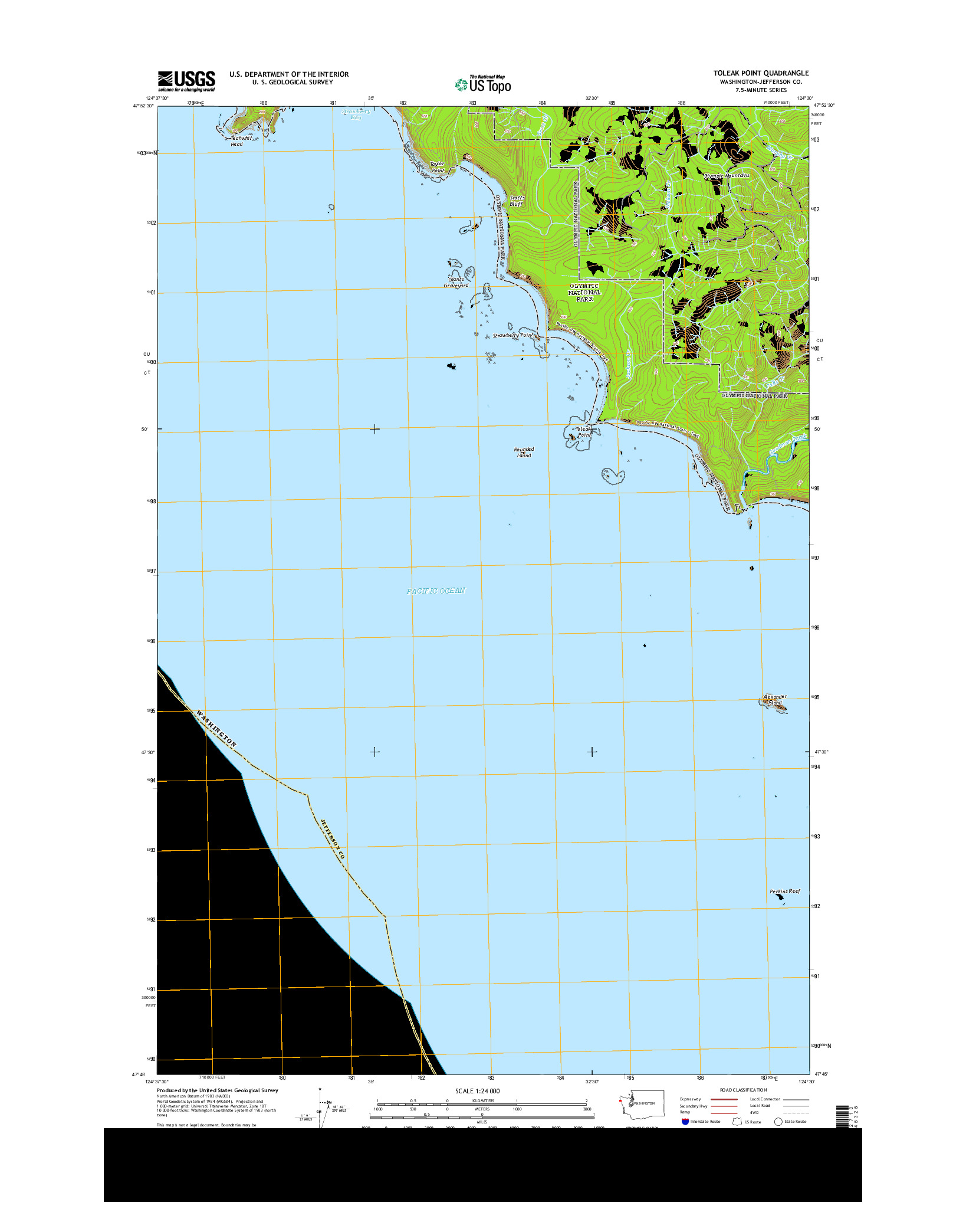 USGS US TOPO 7.5-MINUTE MAP FOR TOLEAK POINT, WA 2014