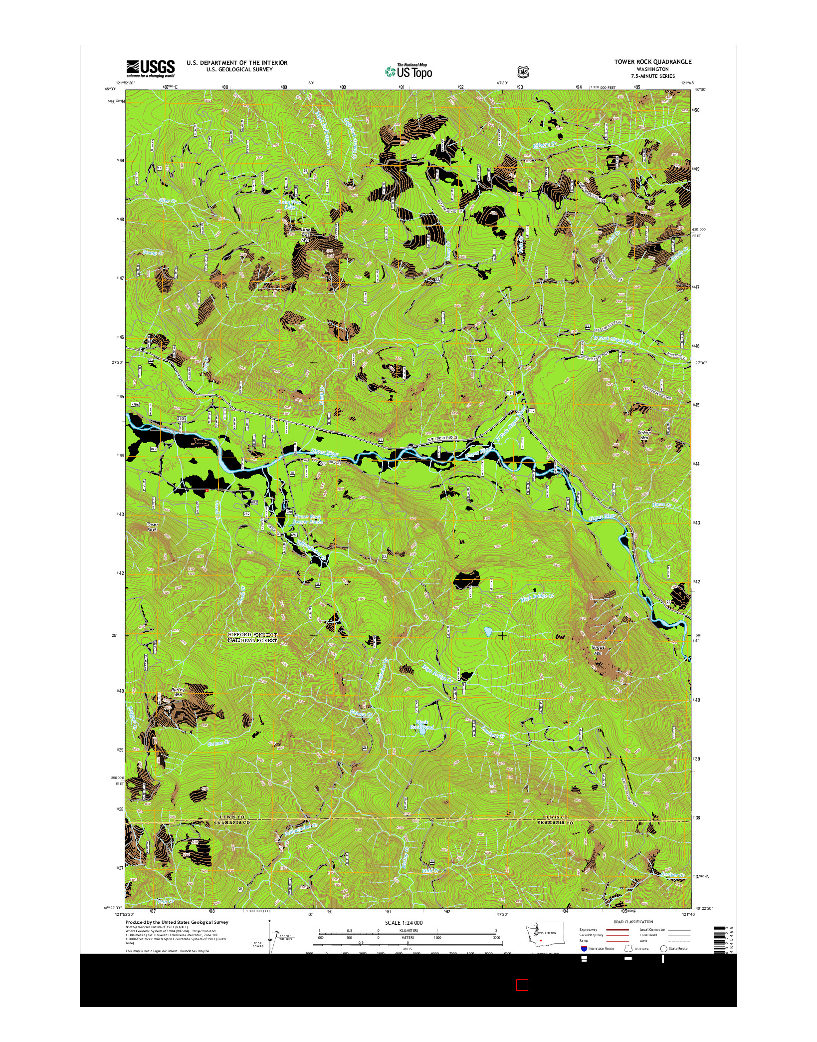 USGS US TOPO 7.5-MINUTE MAP FOR TOWER ROCK, WA 2014