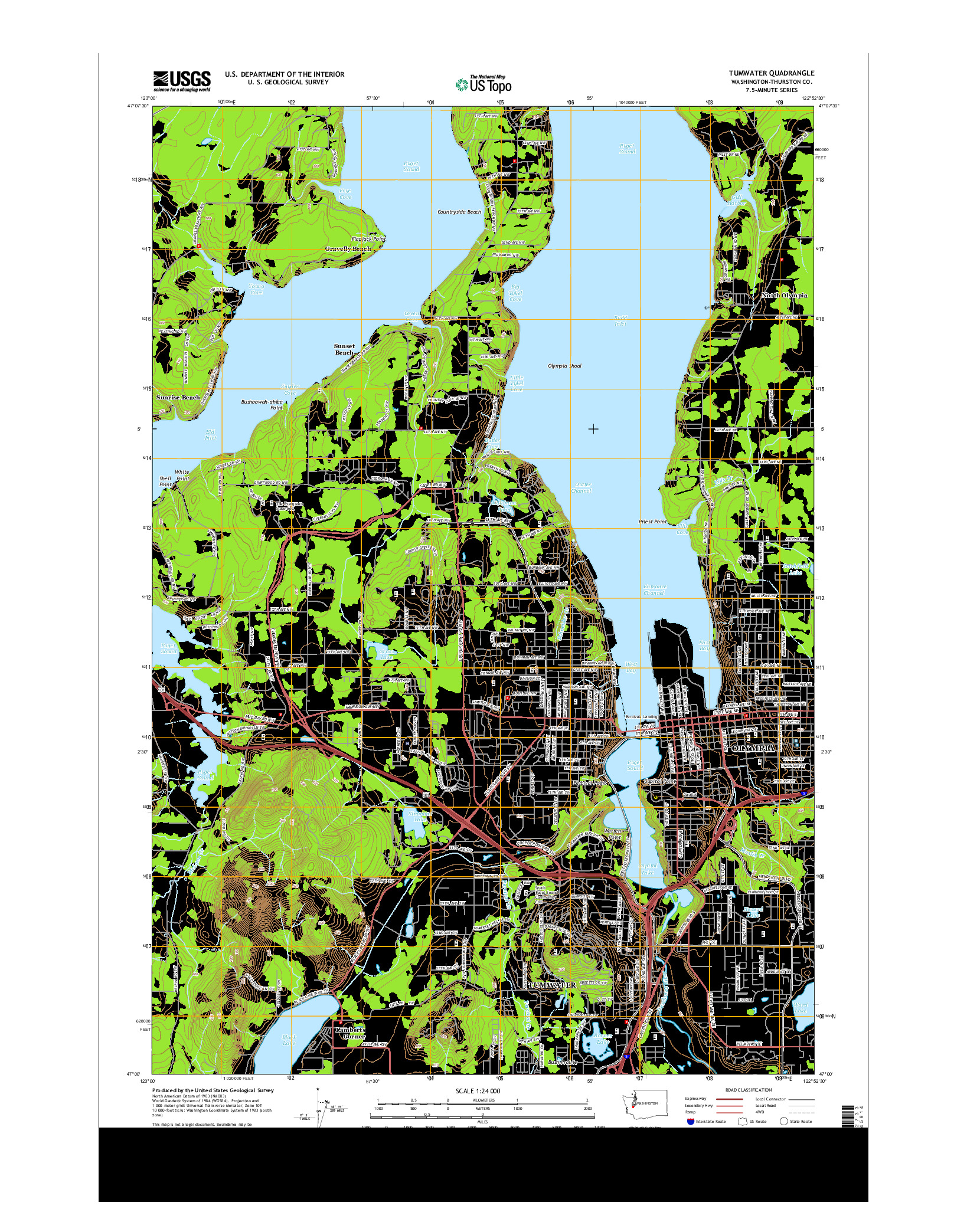 USGS US TOPO 7.5-MINUTE MAP FOR TUMWATER, WA 2014