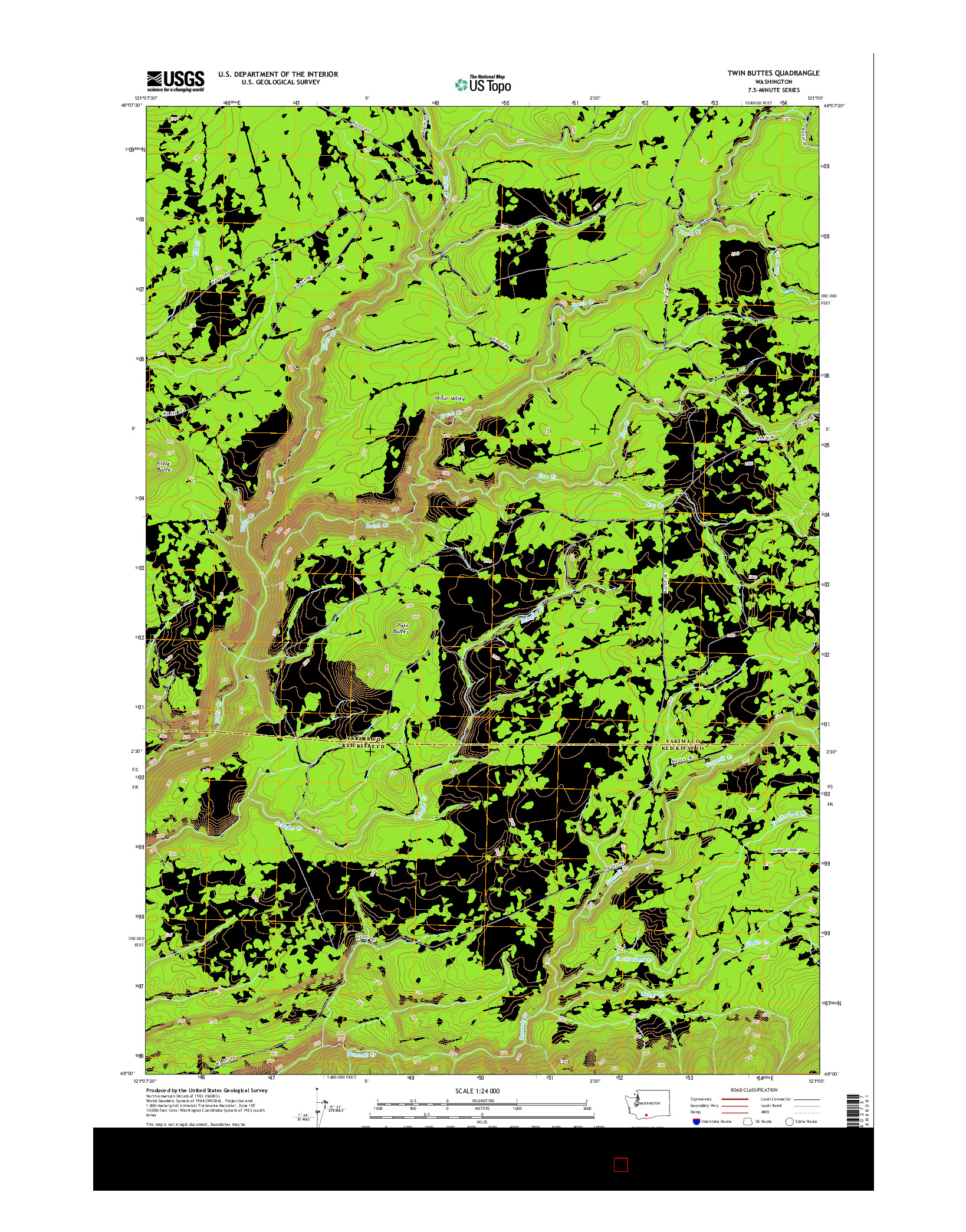 USGS US TOPO 7.5-MINUTE MAP FOR TWIN BUTTES, WA 2014