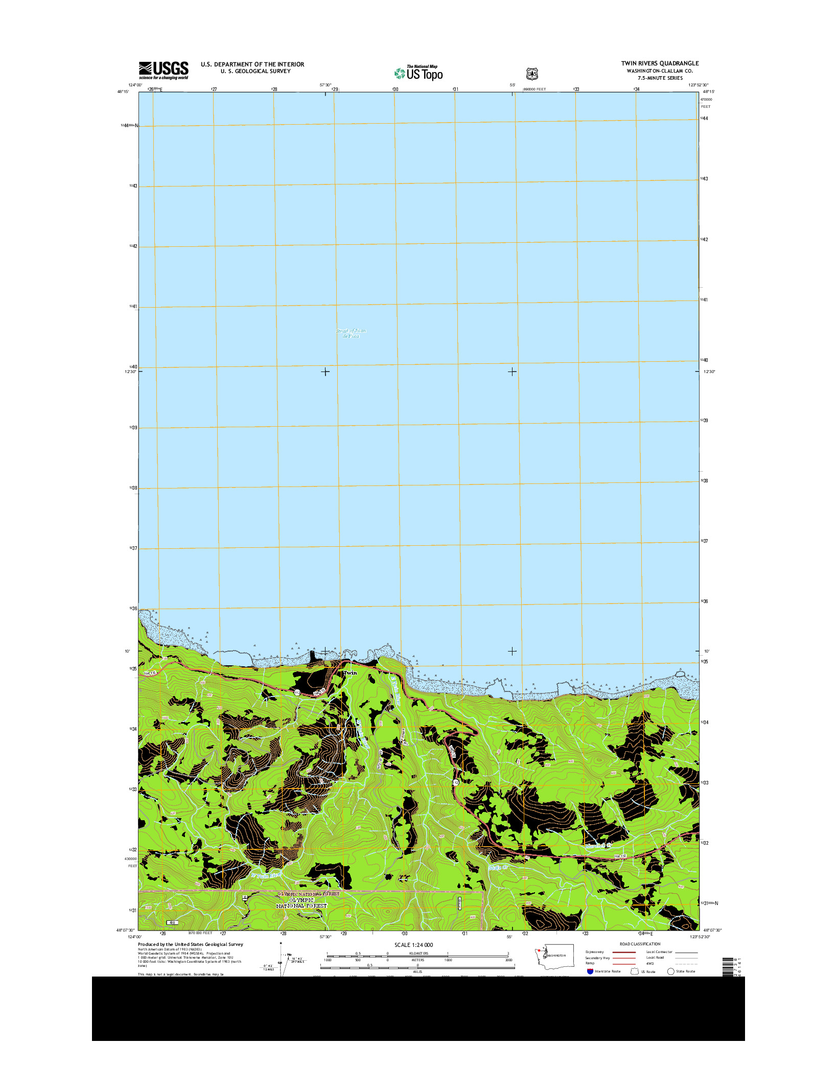 USGS US TOPO 7.5-MINUTE MAP FOR TWIN RIVERS, WA 2014