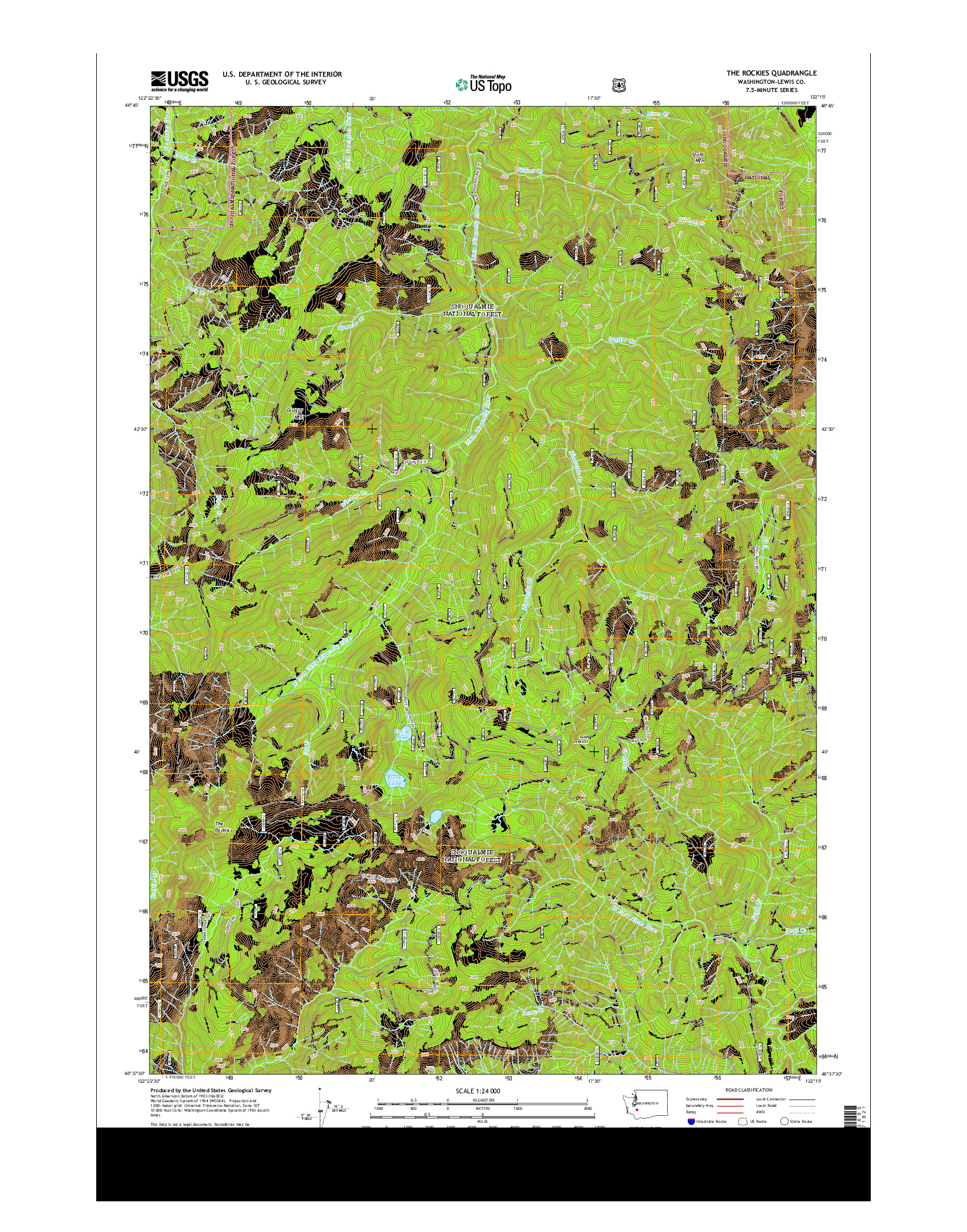 USGS US TOPO 7.5-MINUTE MAP FOR THE ROCKIES, WA 2014
