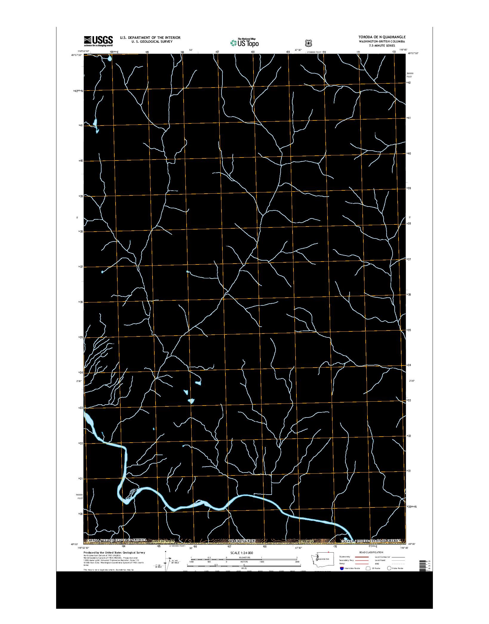 USGS US TOPO 7.5-MINUTE MAP FOR TORODA OE N, WA-BC 2014