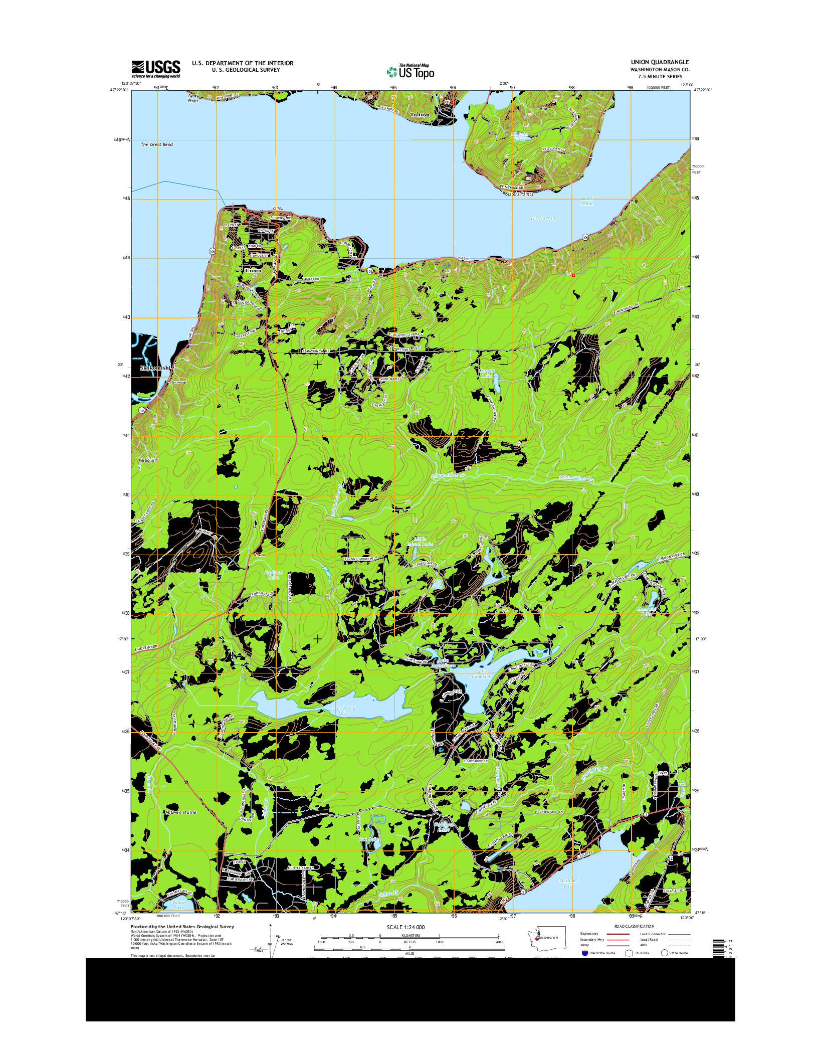 USGS US TOPO 7.5-MINUTE MAP FOR UNION, WA 2014
