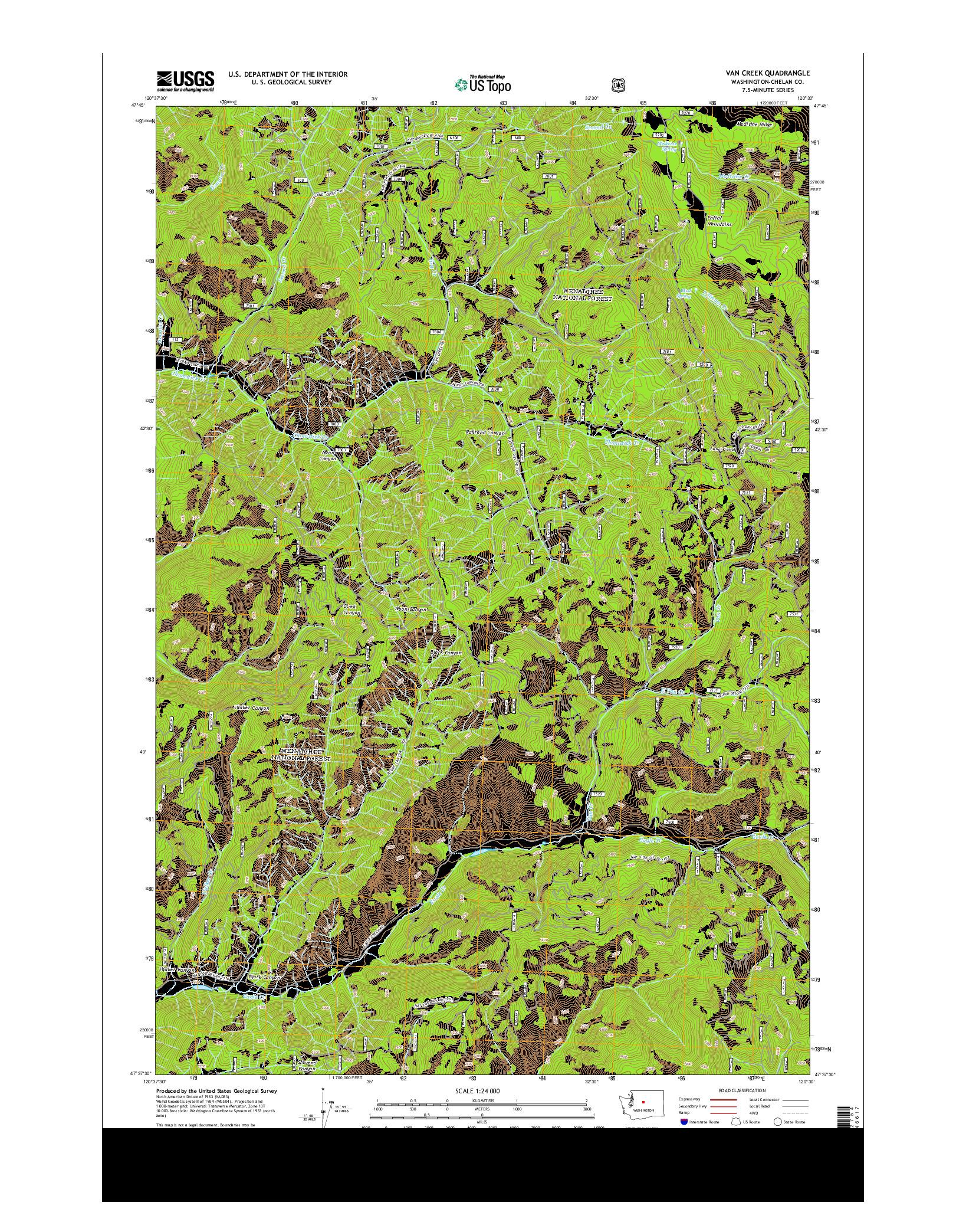 USGS US TOPO 7.5-MINUTE MAP FOR VAN CREEK, WA 2014