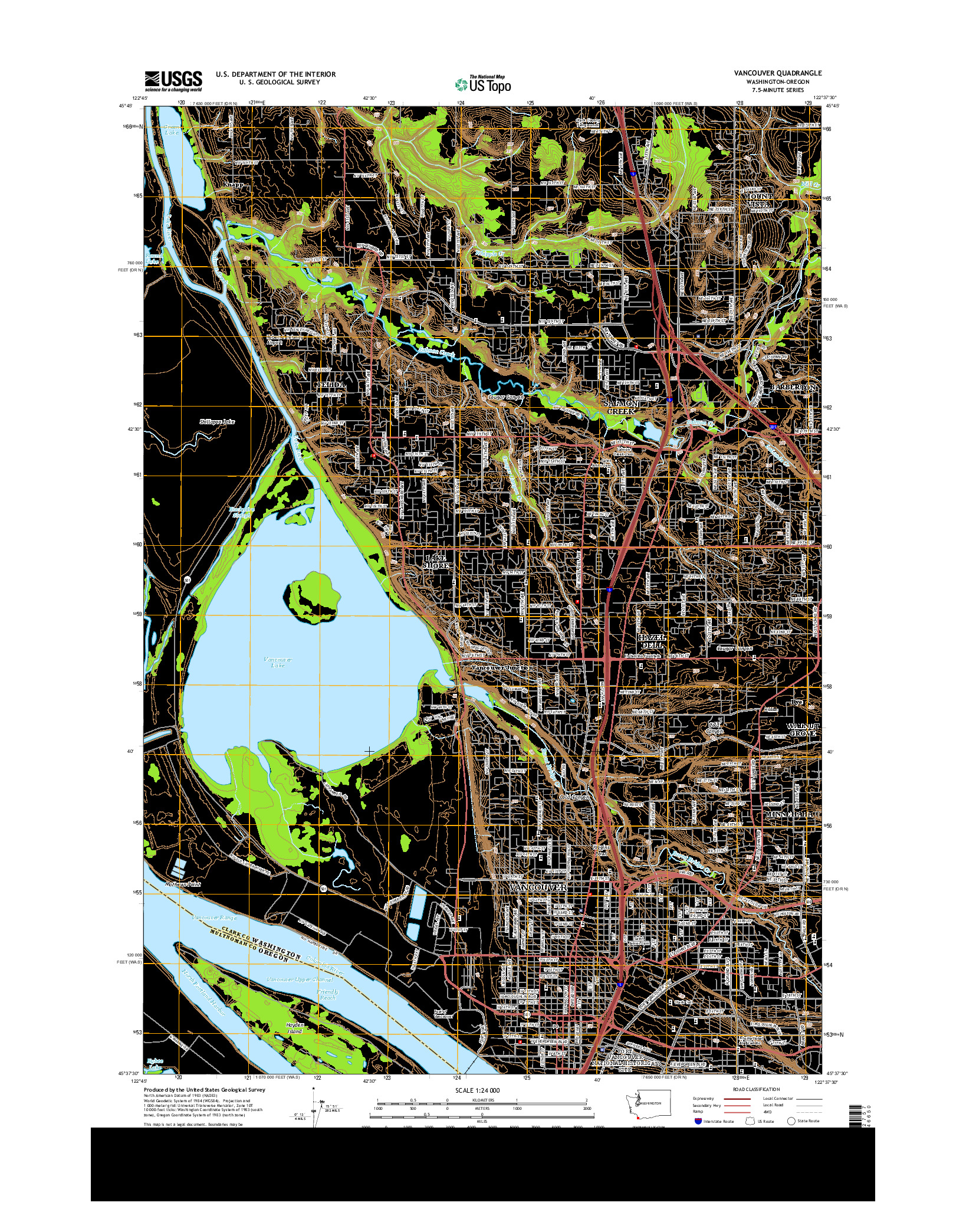USGS US TOPO 7.5-MINUTE MAP FOR VANCOUVER, WA-OR 2014