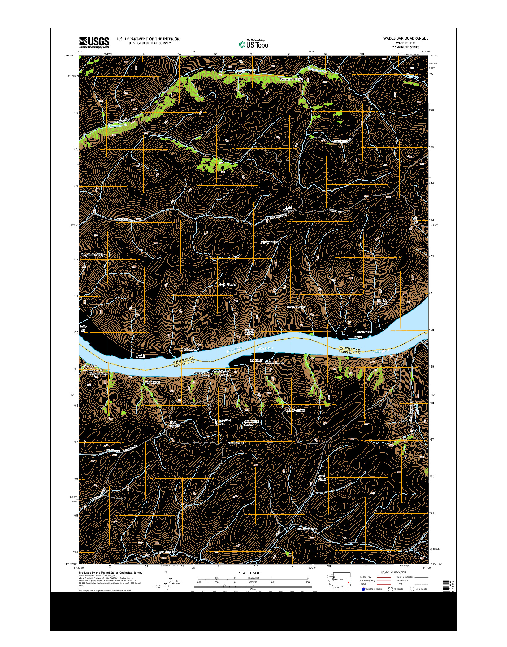USGS US TOPO 7.5-MINUTE MAP FOR WADES BAR, WA 2014