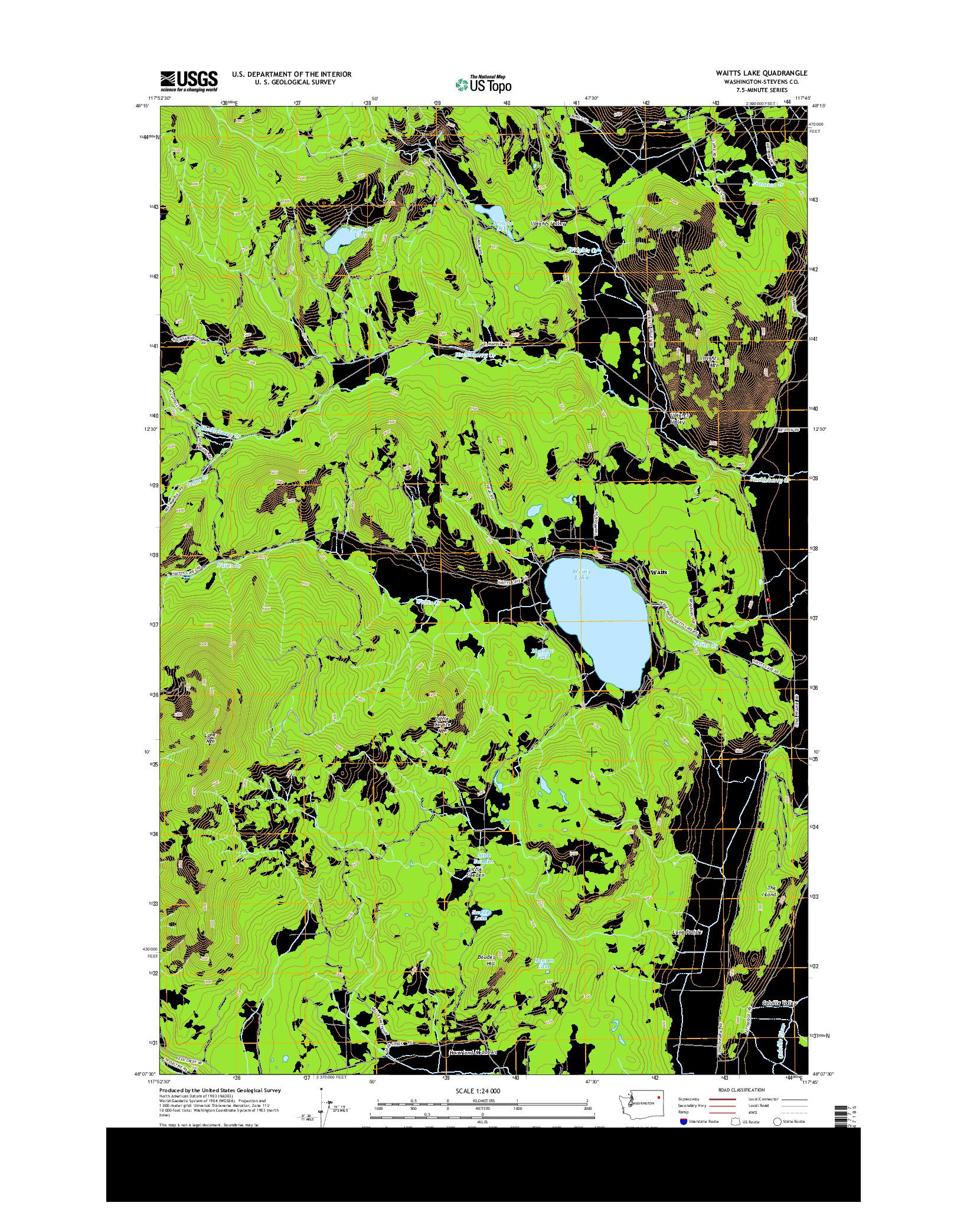 USGS US TOPO 7.5-MINUTE MAP FOR WAITTS LAKE, WA 2014