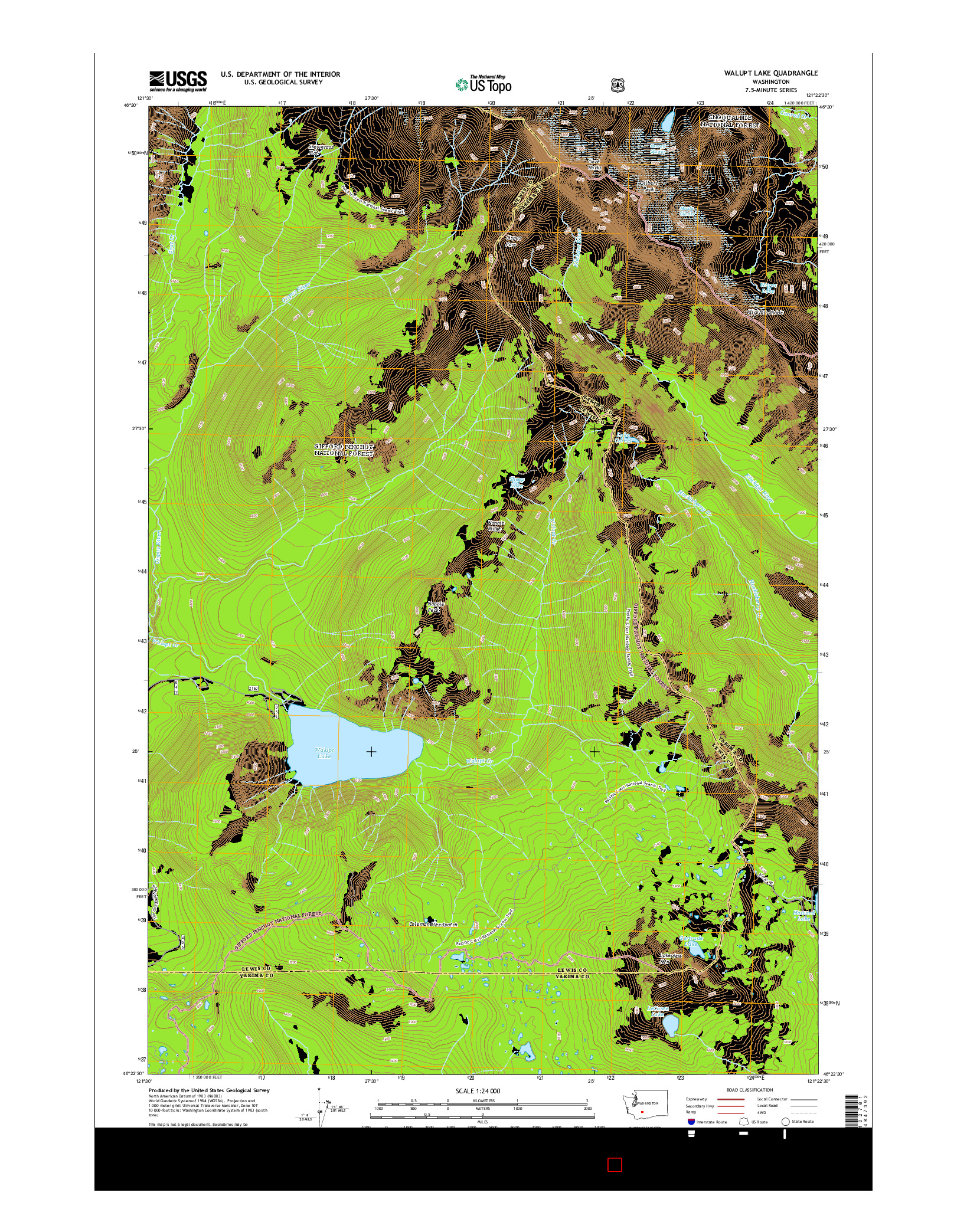 USGS US TOPO 7.5-MINUTE MAP FOR WALUPT LAKE, WA 2014