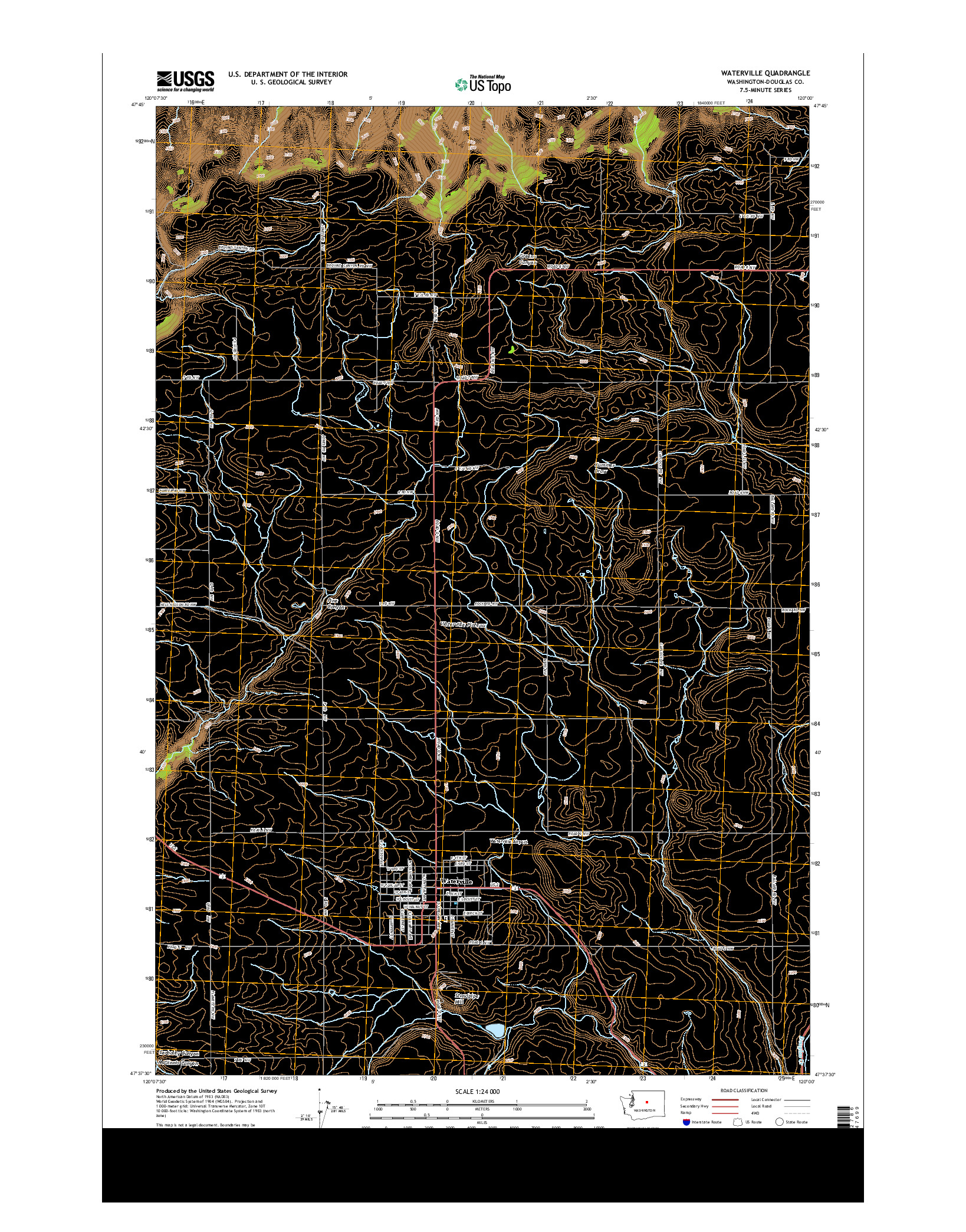 USGS US TOPO 7.5-MINUTE MAP FOR WATERVILLE, WA 2014