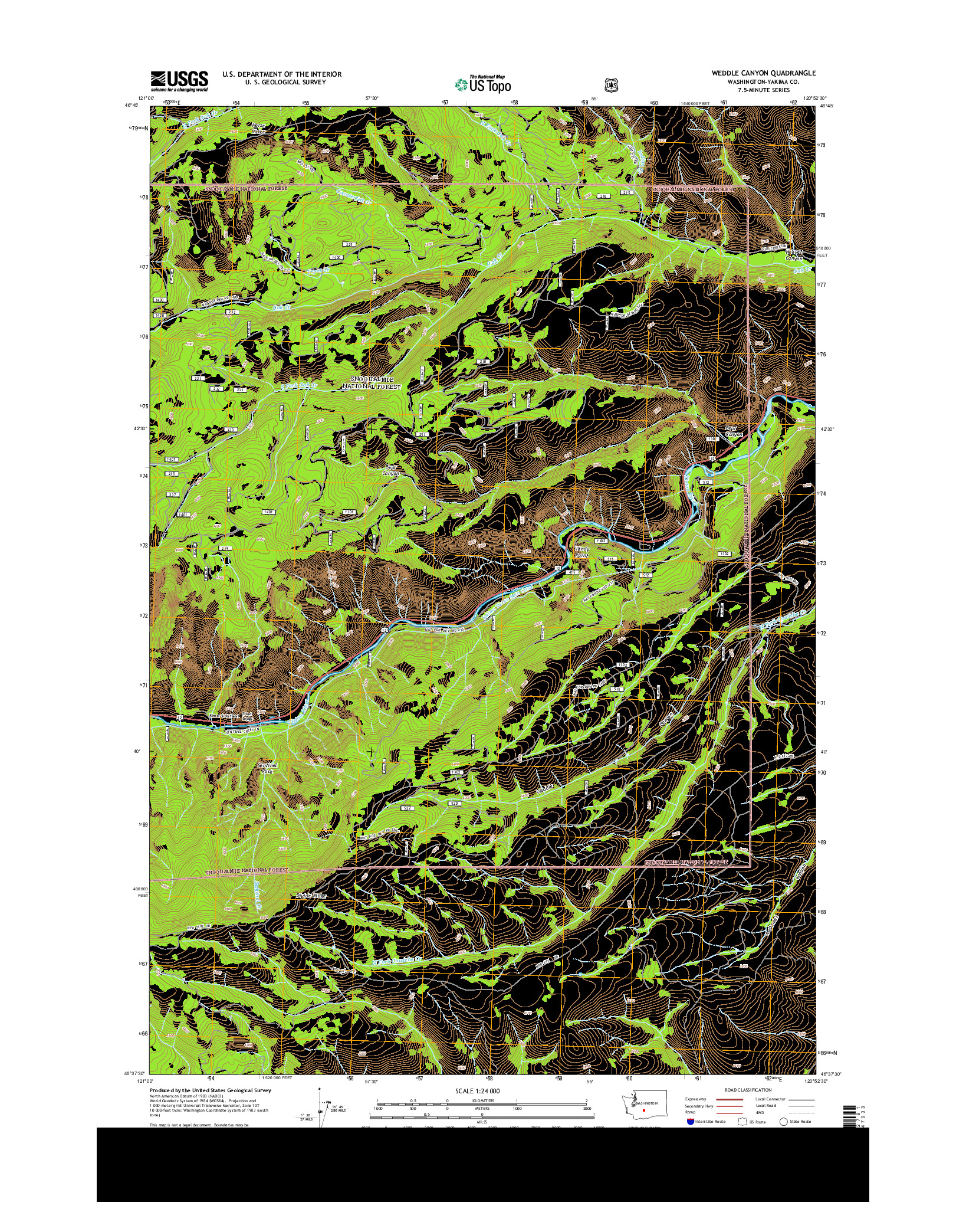 USGS US TOPO 7.5-MINUTE MAP FOR WEDDLE CANYON, WA 2014