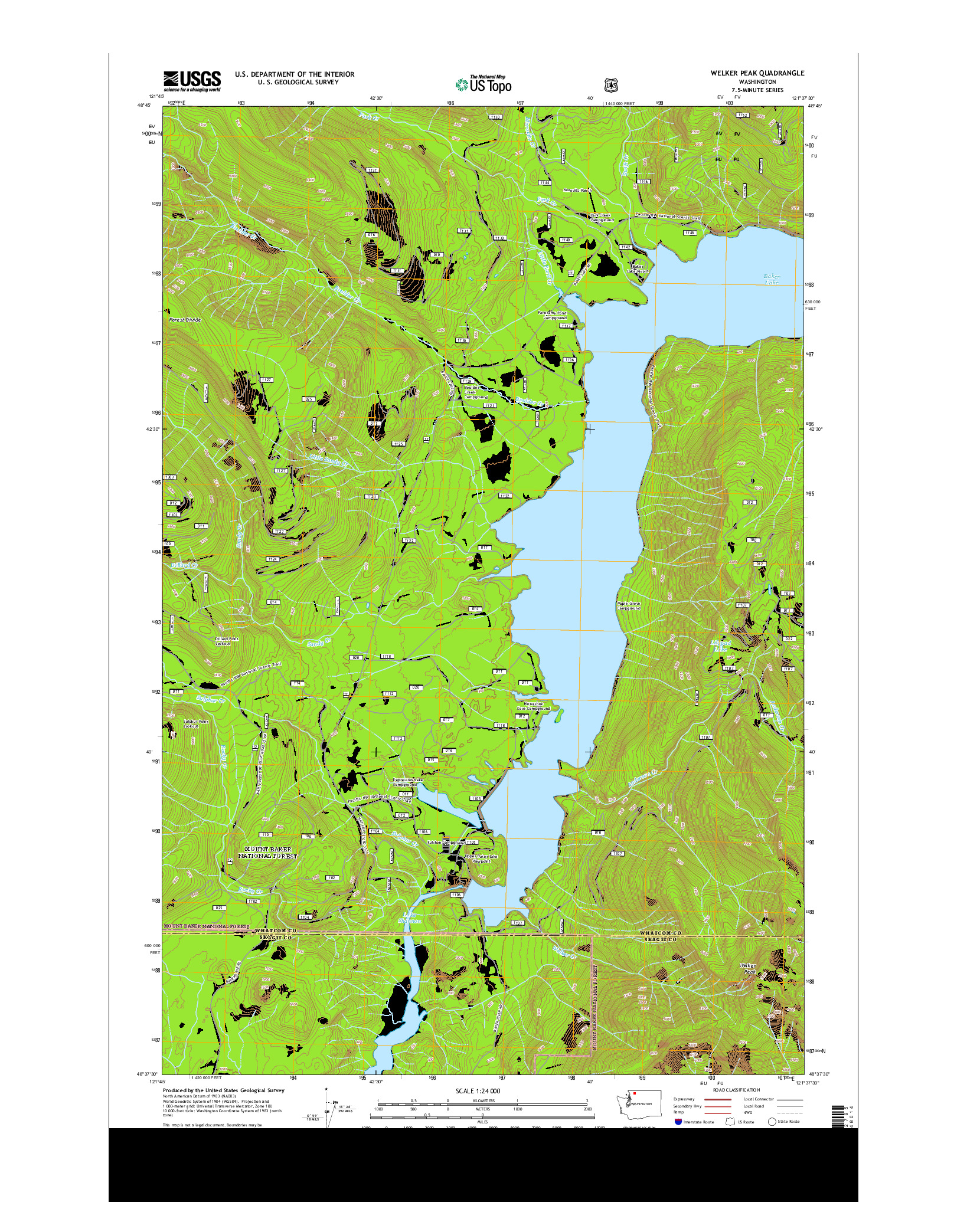 USGS US TOPO 7.5-MINUTE MAP FOR WELKER PEAK, WA 2014