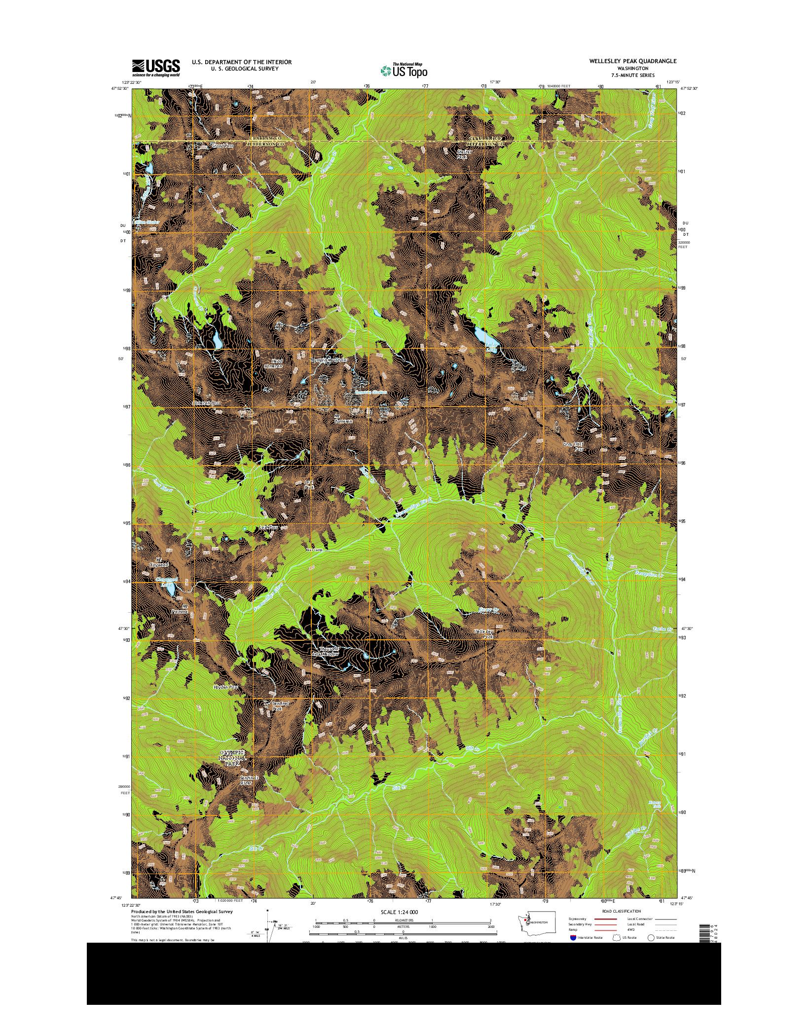 USGS US TOPO 7.5-MINUTE MAP FOR WELLESLEY PEAK, WA 2014