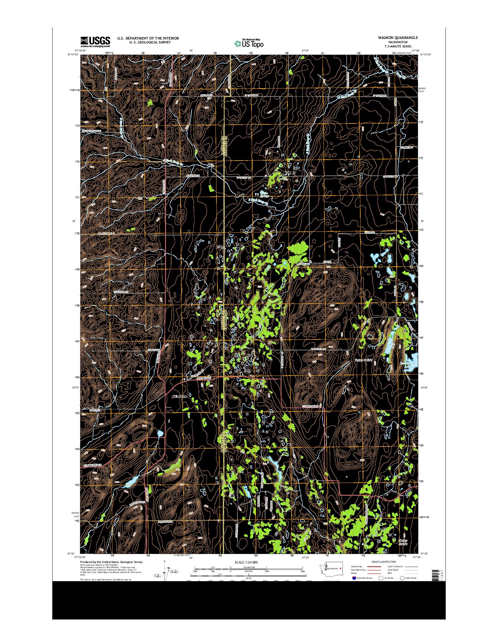 USGS US TOPO 7.5-MINUTE MAP FOR WAUKON, WA 2014
