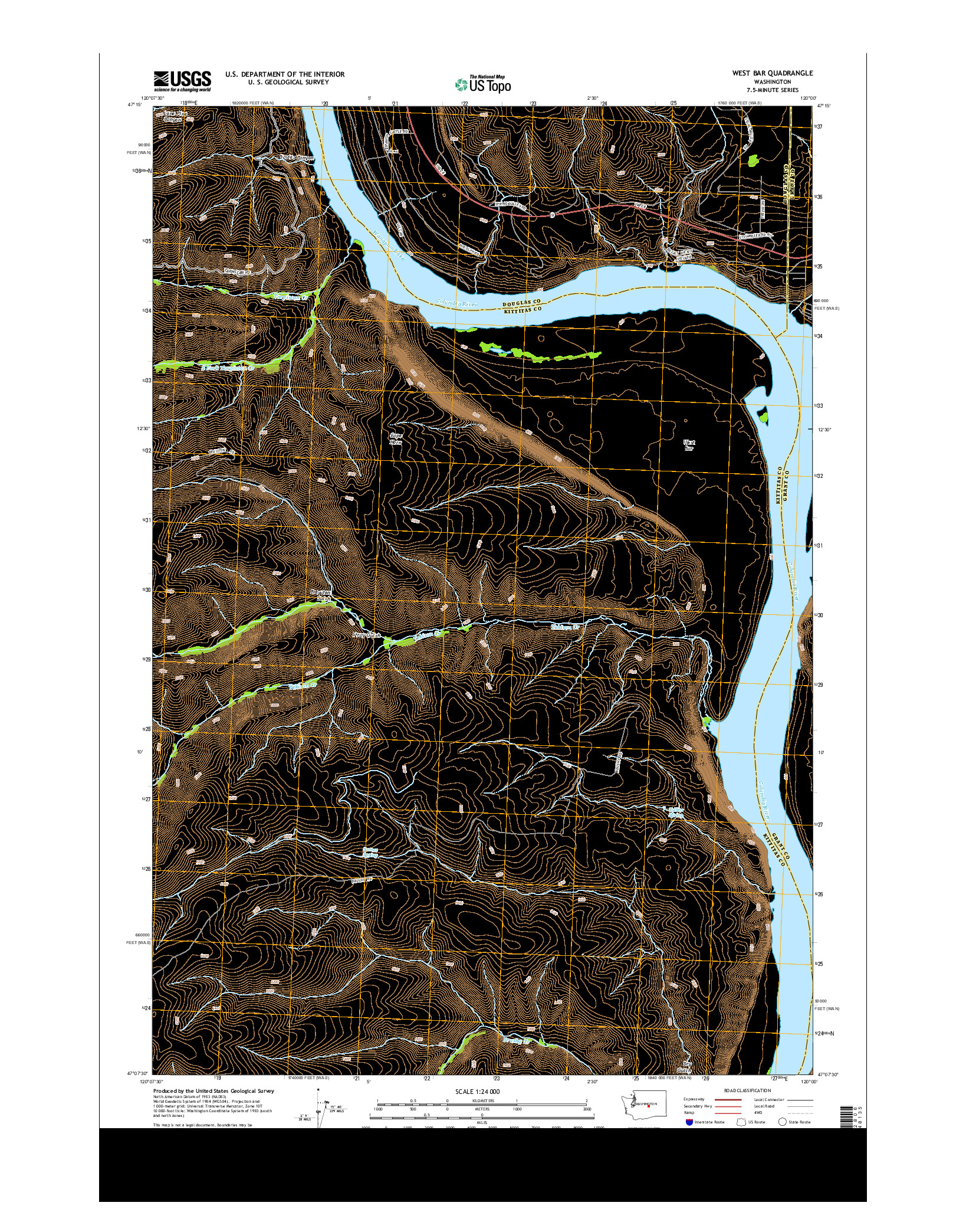USGS US TOPO 7.5-MINUTE MAP FOR WEST BAR, WA 2014
