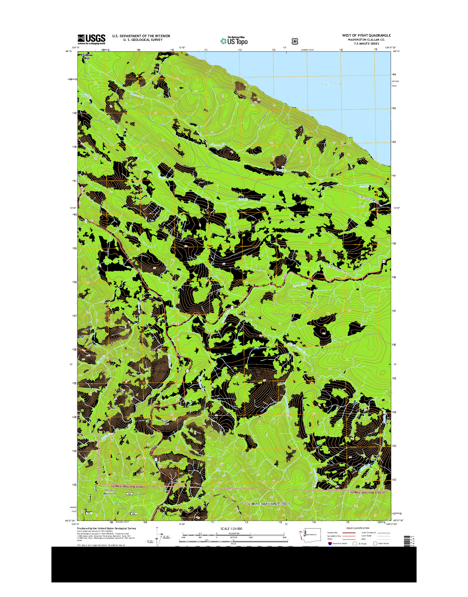 USGS US TOPO 7.5-MINUTE MAP FOR WEST OF PYSHT, WA 2014