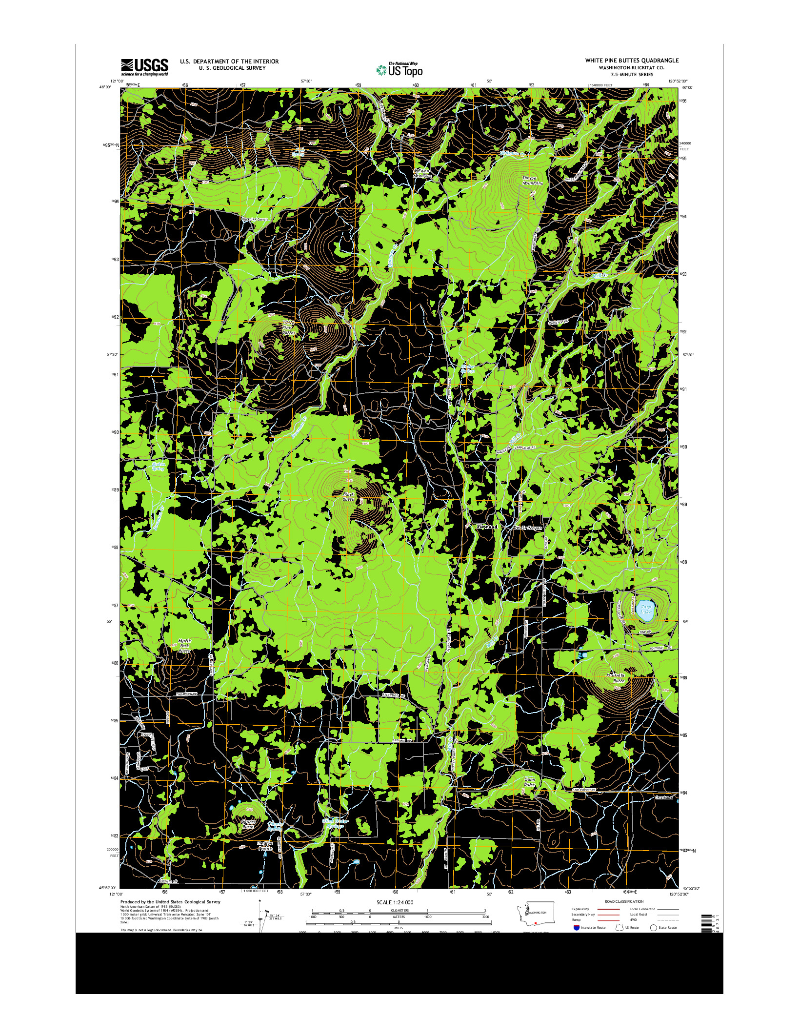 USGS US TOPO 7.5-MINUTE MAP FOR WHITE PINE BUTTES, WA 2014