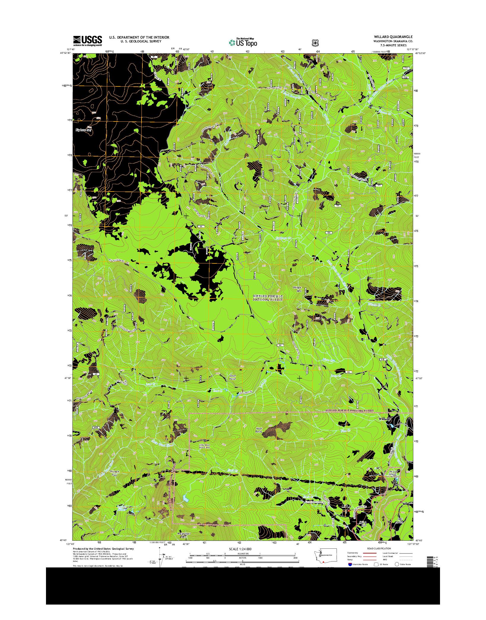 USGS US TOPO 7.5-MINUTE MAP FOR WILLARD, WA 2014