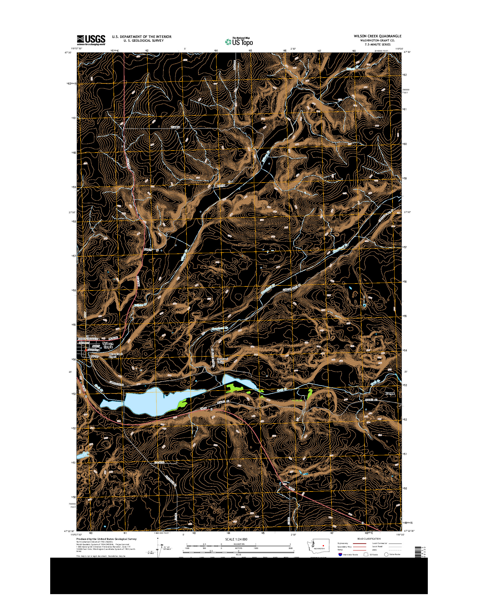USGS US TOPO 7.5-MINUTE MAP FOR WILSON CREEK, WA 2014