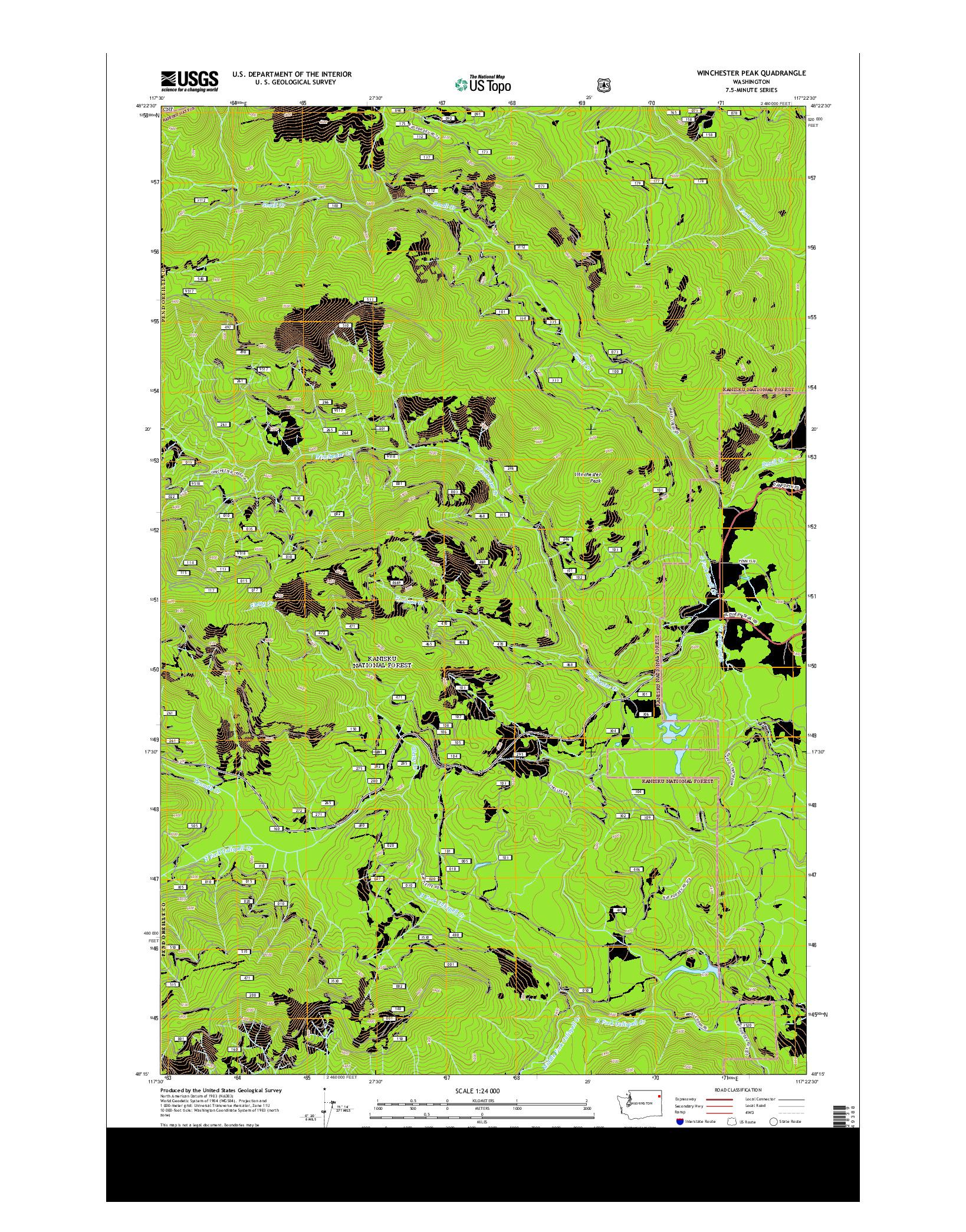 USGS US TOPO 7.5-MINUTE MAP FOR WINCHESTER PEAK, WA 2014