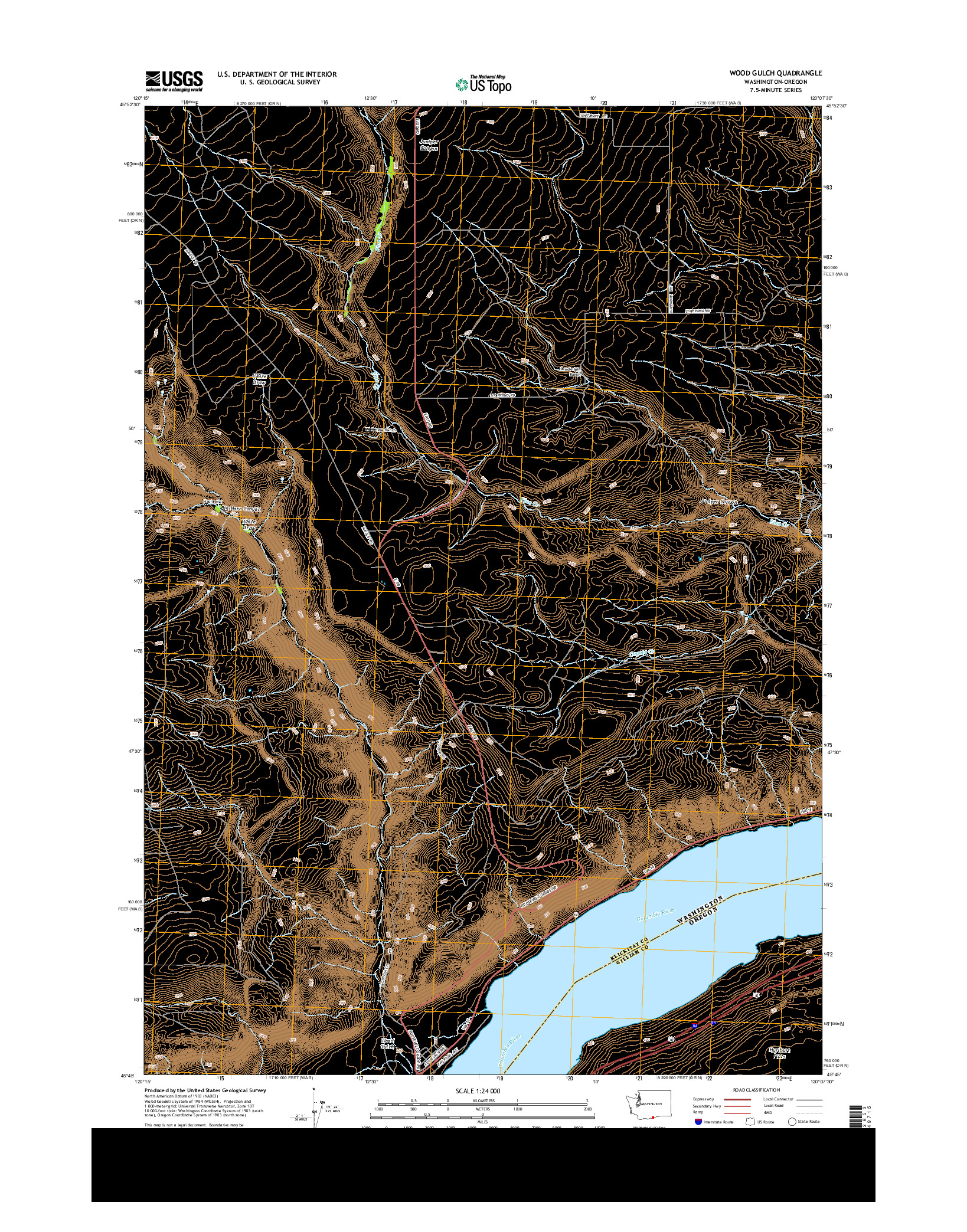 USGS US TOPO 7.5-MINUTE MAP FOR WOOD GULCH, WA-OR 2014