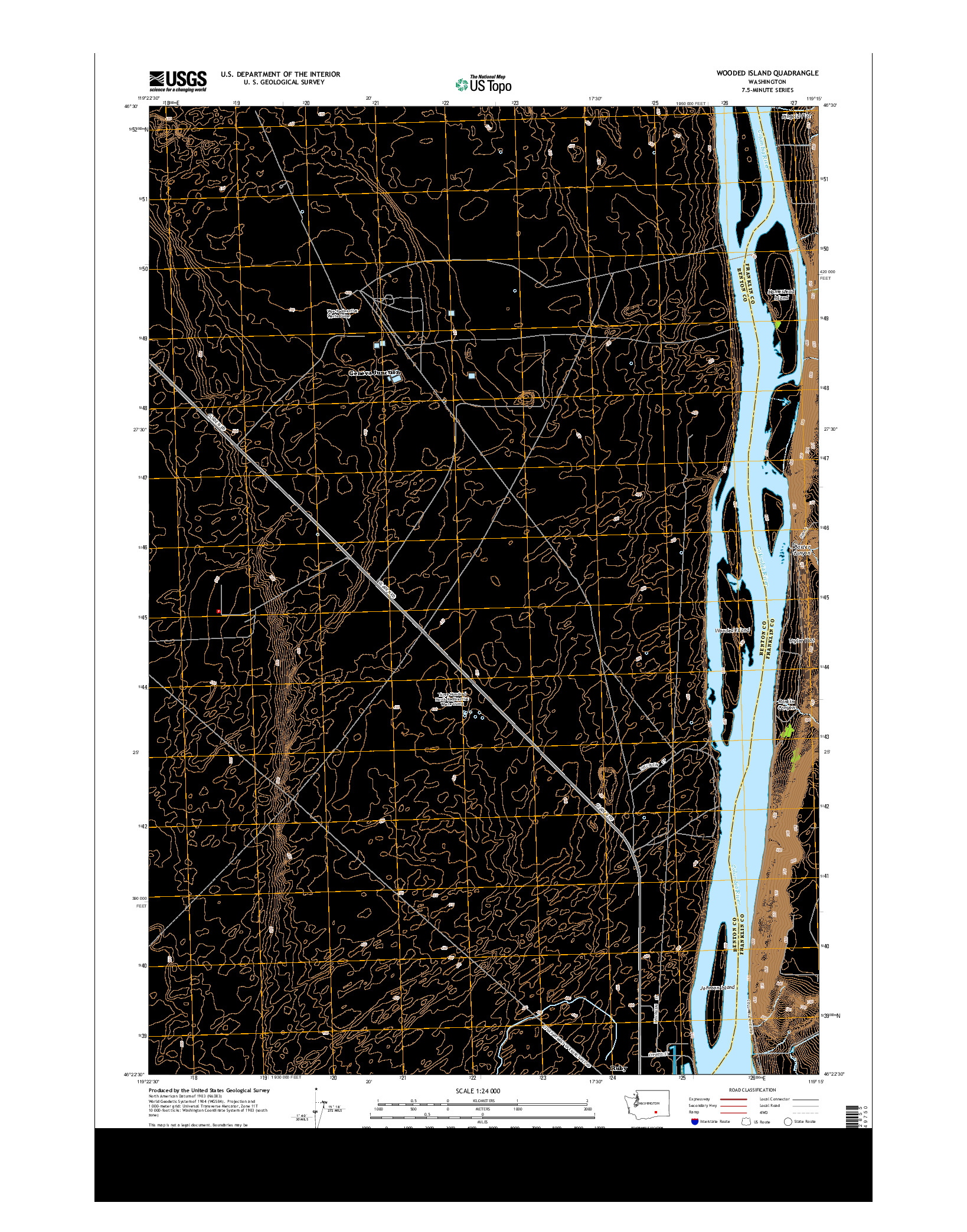 USGS US TOPO 7.5-MINUTE MAP FOR WOODED ISLAND, WA 2014