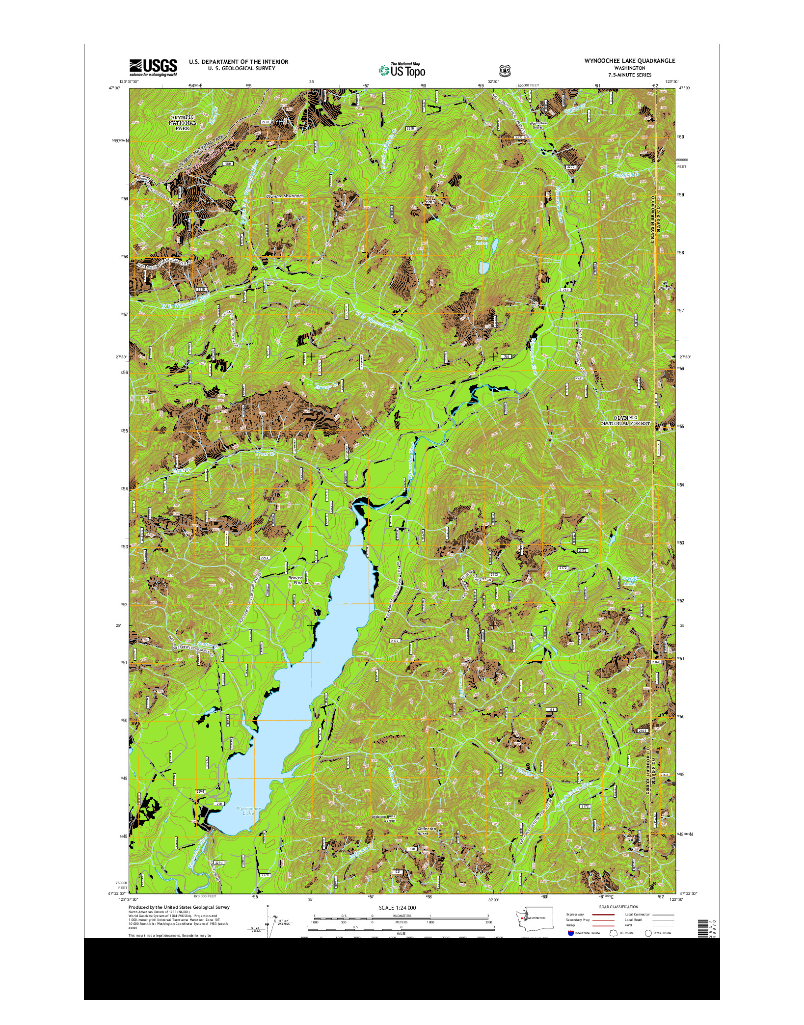USGS US TOPO 7.5-MINUTE MAP FOR WYNOOCHEE LAKE, WA 2014