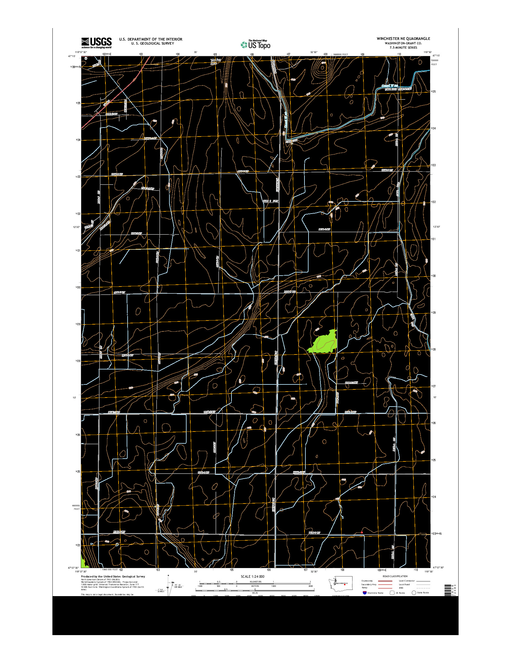 USGS US TOPO 7.5-MINUTE MAP FOR WINCHESTER NE, WA 2014