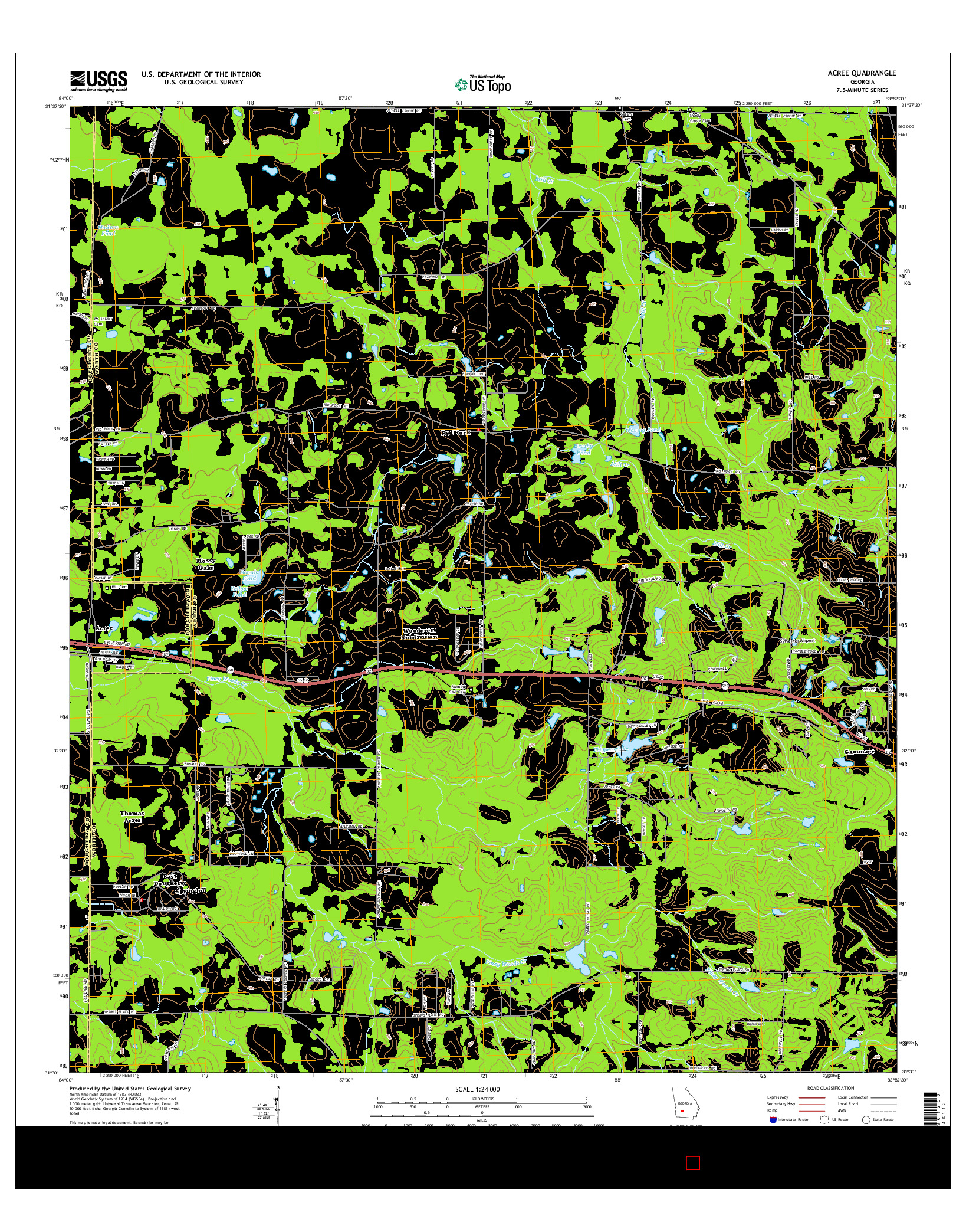 USGS US TOPO 7.5-MINUTE MAP FOR ACREE, GA 2014
