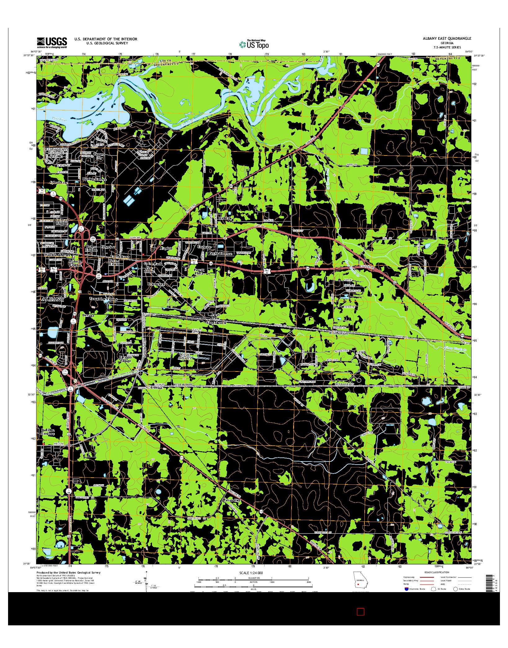 USGS US TOPO 7.5-MINUTE MAP FOR ALBANY EAST, GA 2014