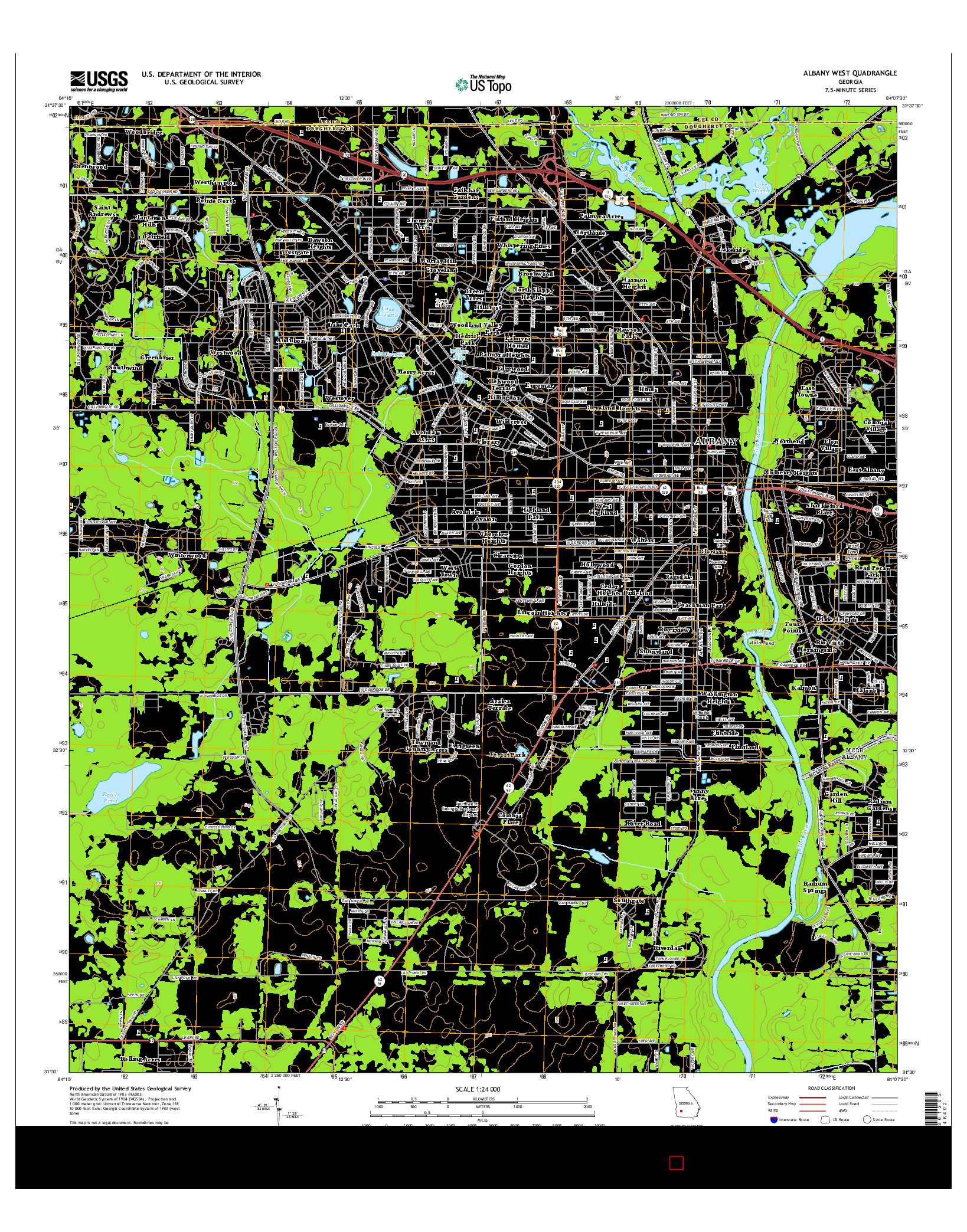 USGS US TOPO 7.5-MINUTE MAP FOR ALBANY WEST, GA 2014