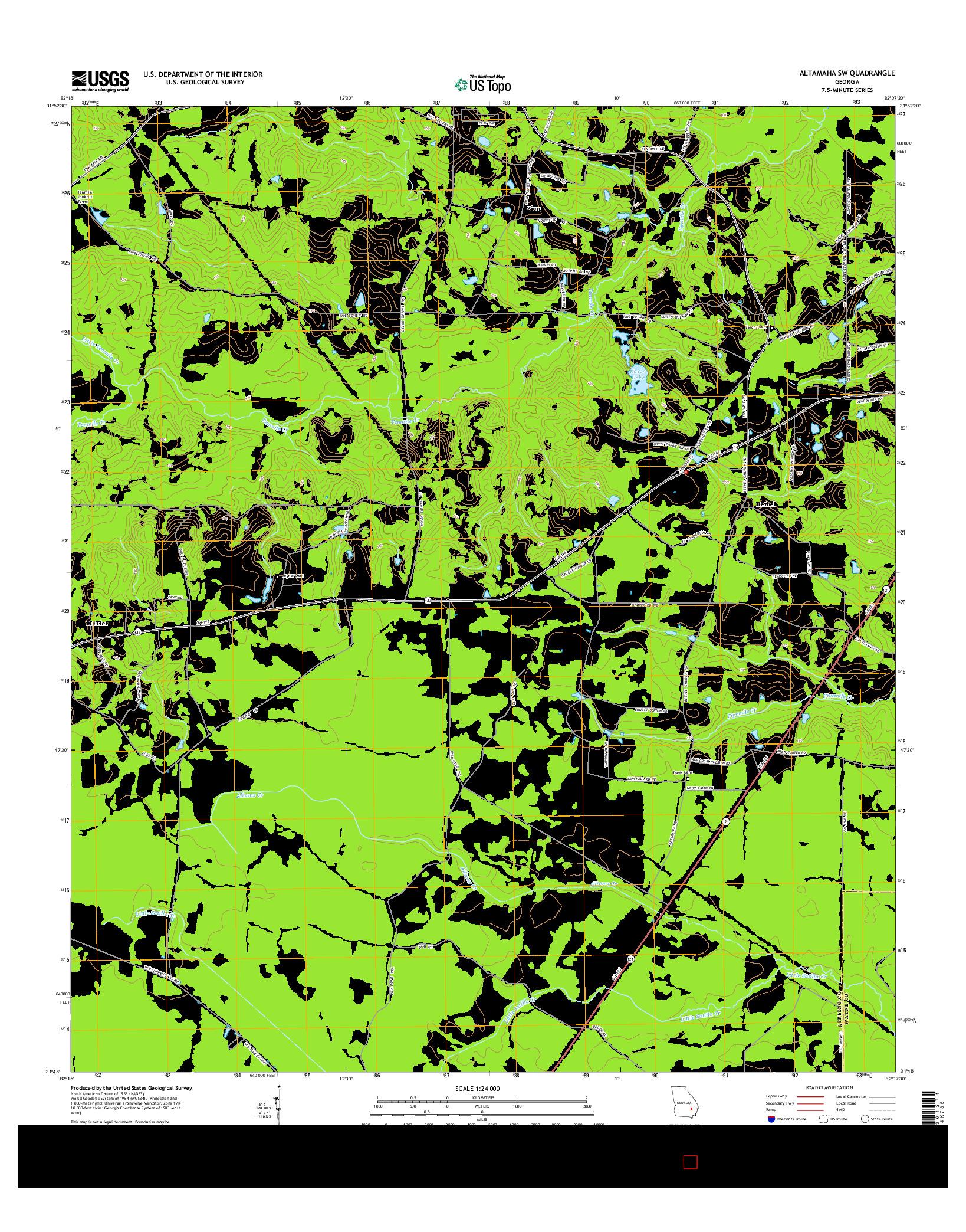 USGS US TOPO 7.5-MINUTE MAP FOR ALTAMAHA SW, GA 2014