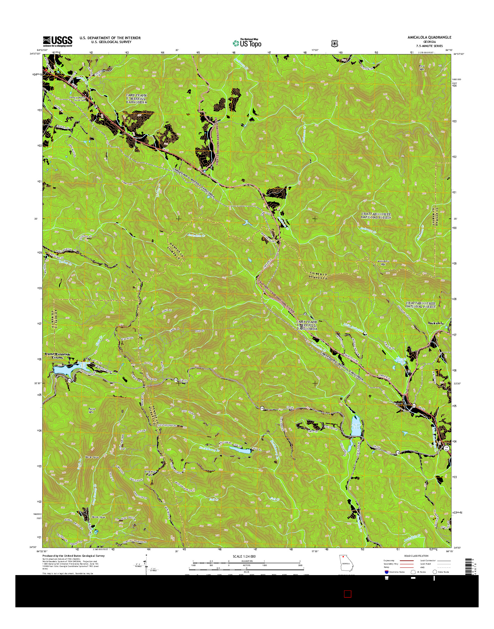 USGS US TOPO 7.5-MINUTE MAP FOR AMICALOLA, GA 2014