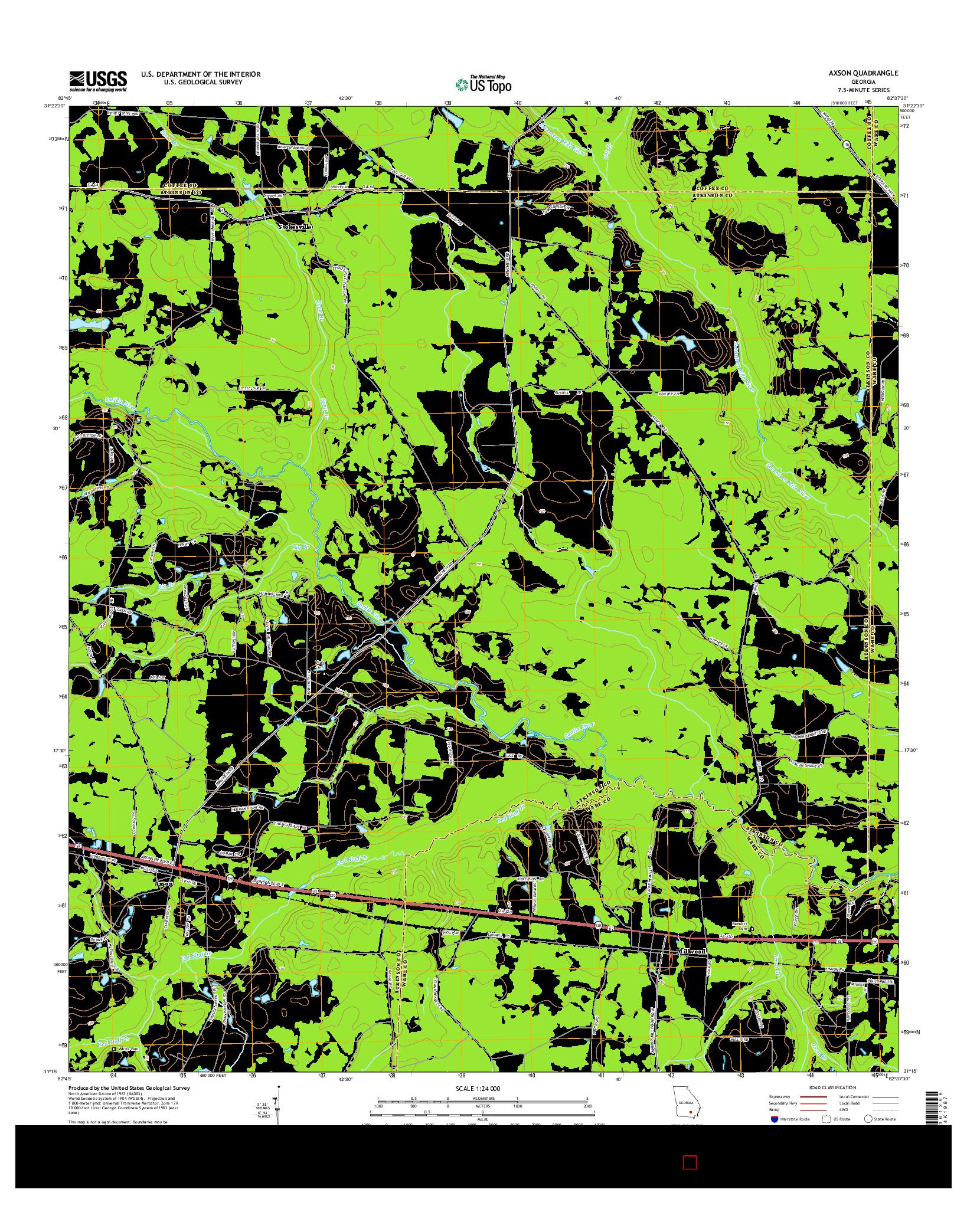 USGS US TOPO 7.5-MINUTE MAP FOR AXSON, GA 2014