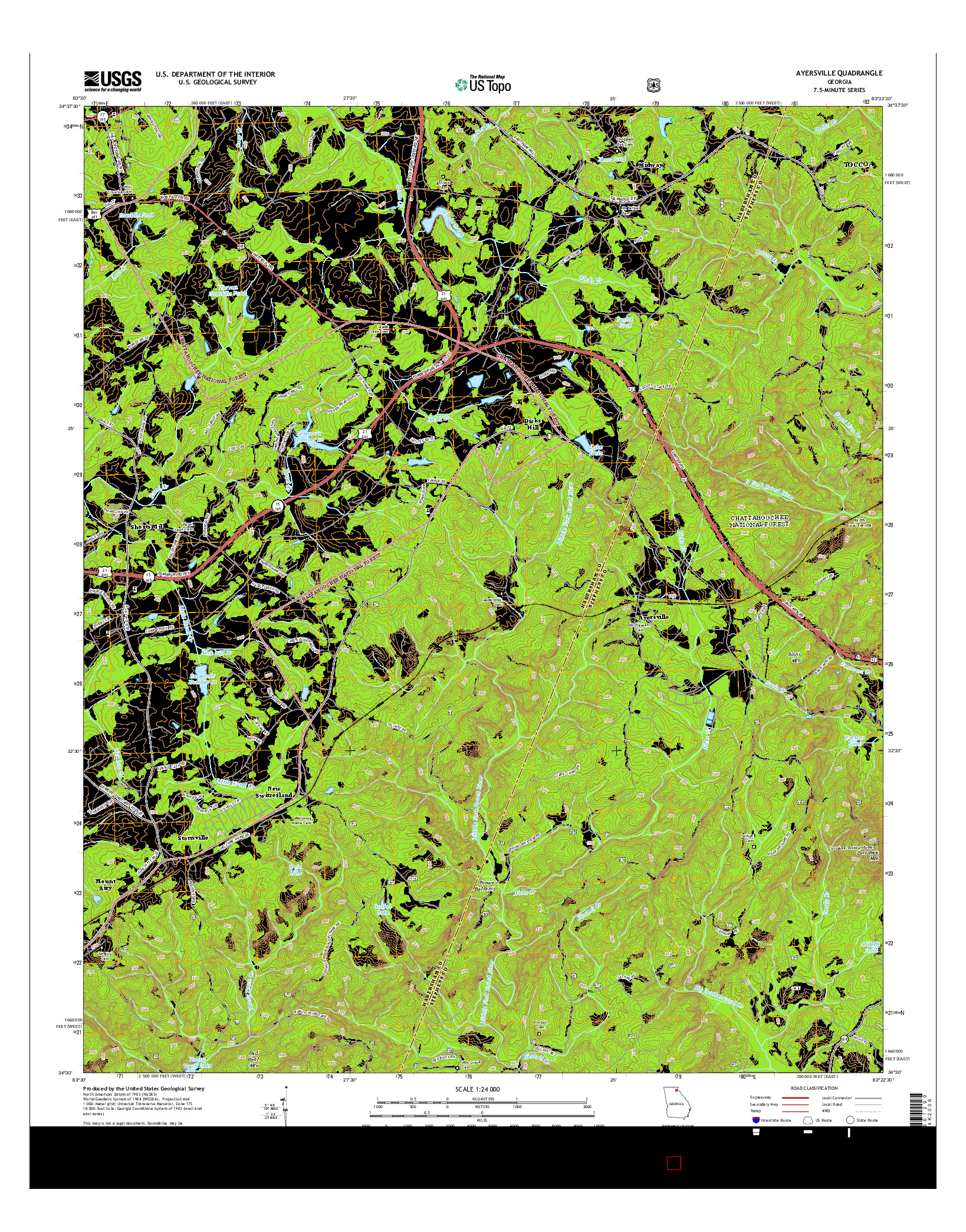 USGS US TOPO 7.5-MINUTE MAP FOR AYERSVILLE, GA 2014