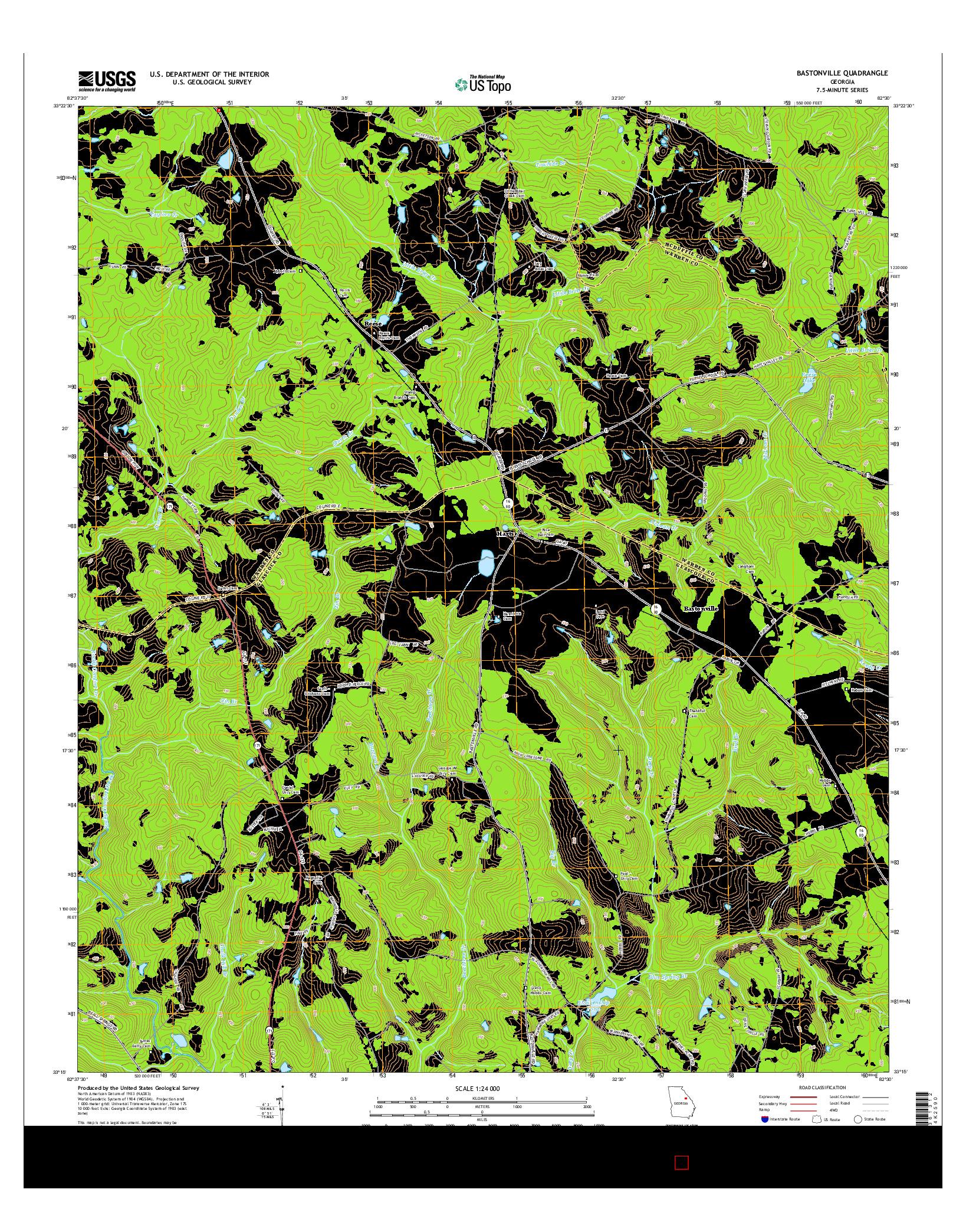 USGS US TOPO 7.5-MINUTE MAP FOR BASTONVILLE, GA 2014