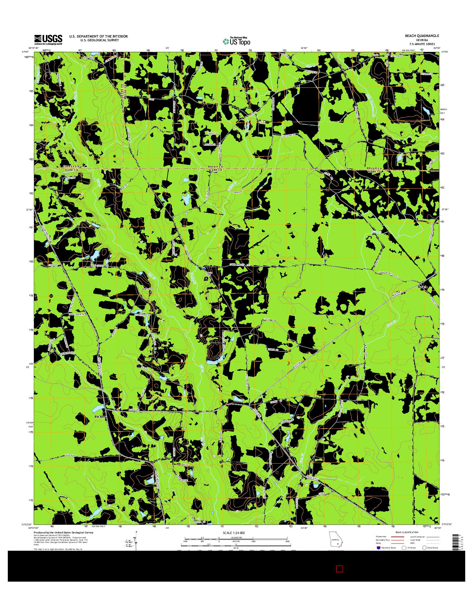 USGS US TOPO 7.5-MINUTE MAP FOR BEACH, GA 2014