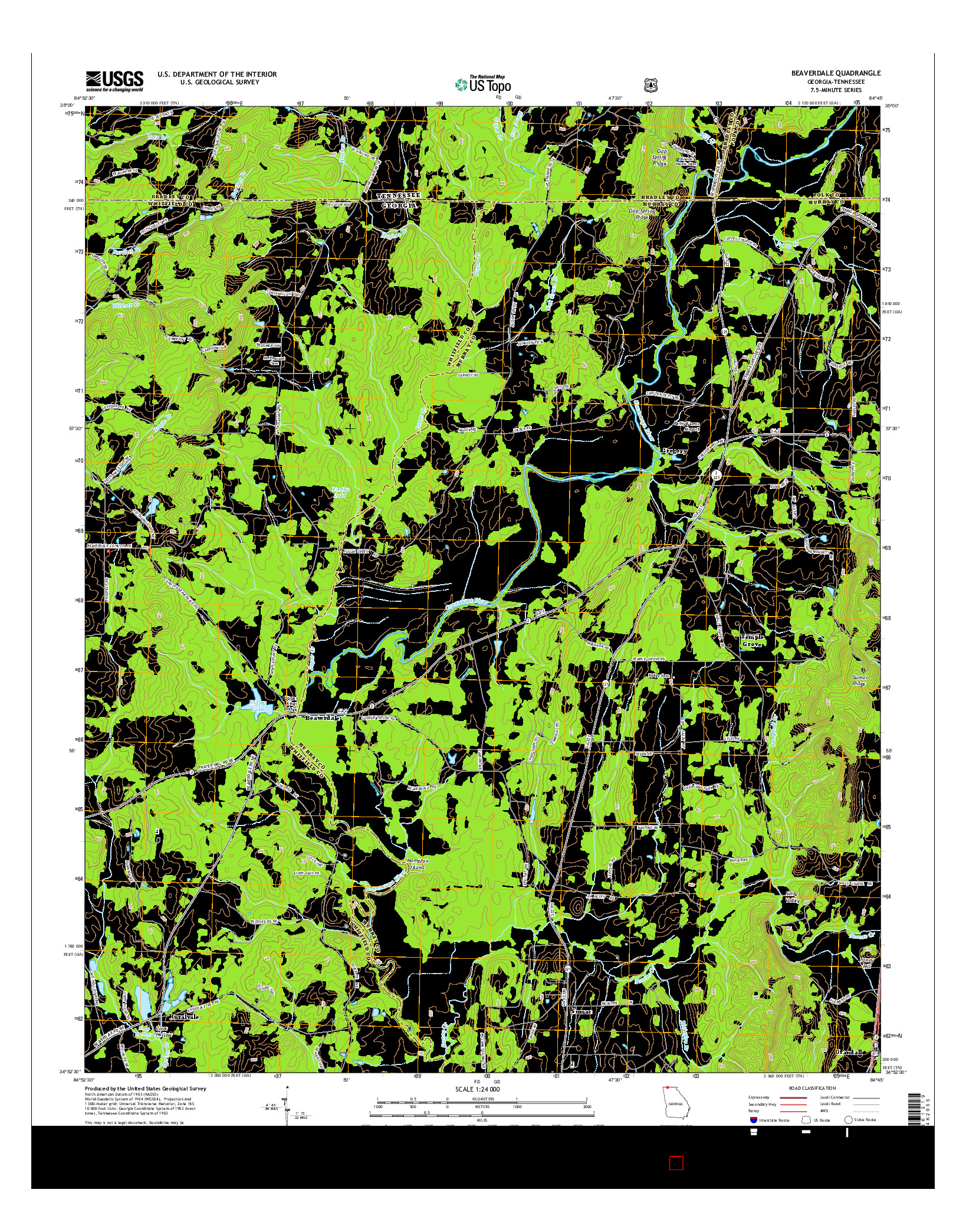 USGS US TOPO 7.5-MINUTE MAP FOR BEAVERDALE, GA-TN 2014